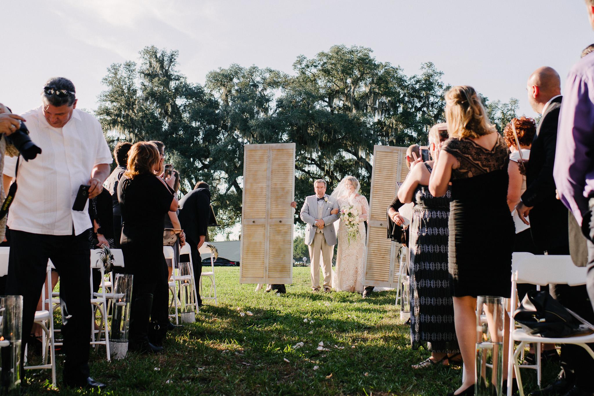 rustic doors for bride to walk through