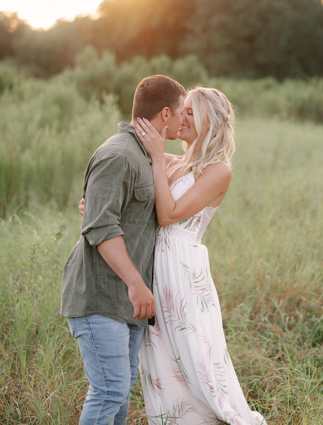 Grassy Field Engagement Session Central Florida
