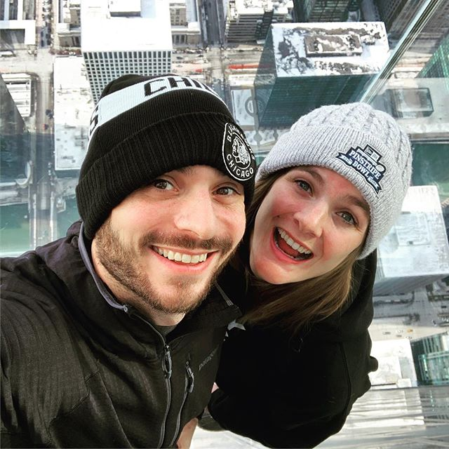 Atop the Sears Tower on the glass bridge this past weekend. #playingtourists