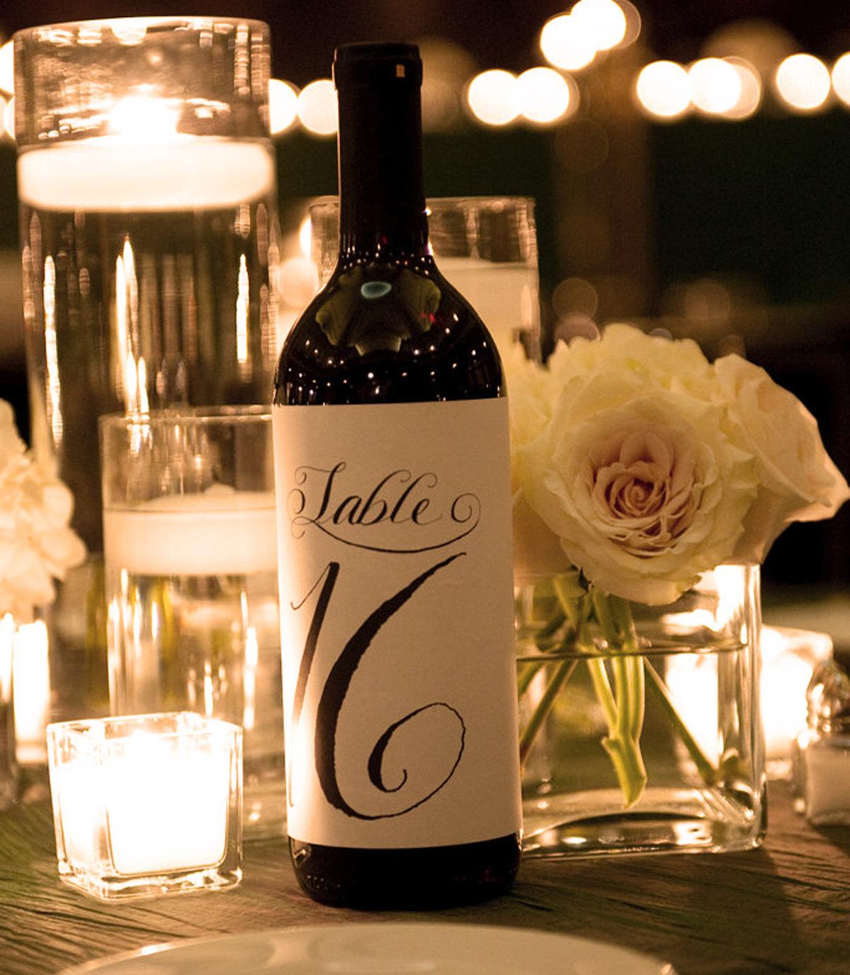 12 Custom Table Number Bottle Labels