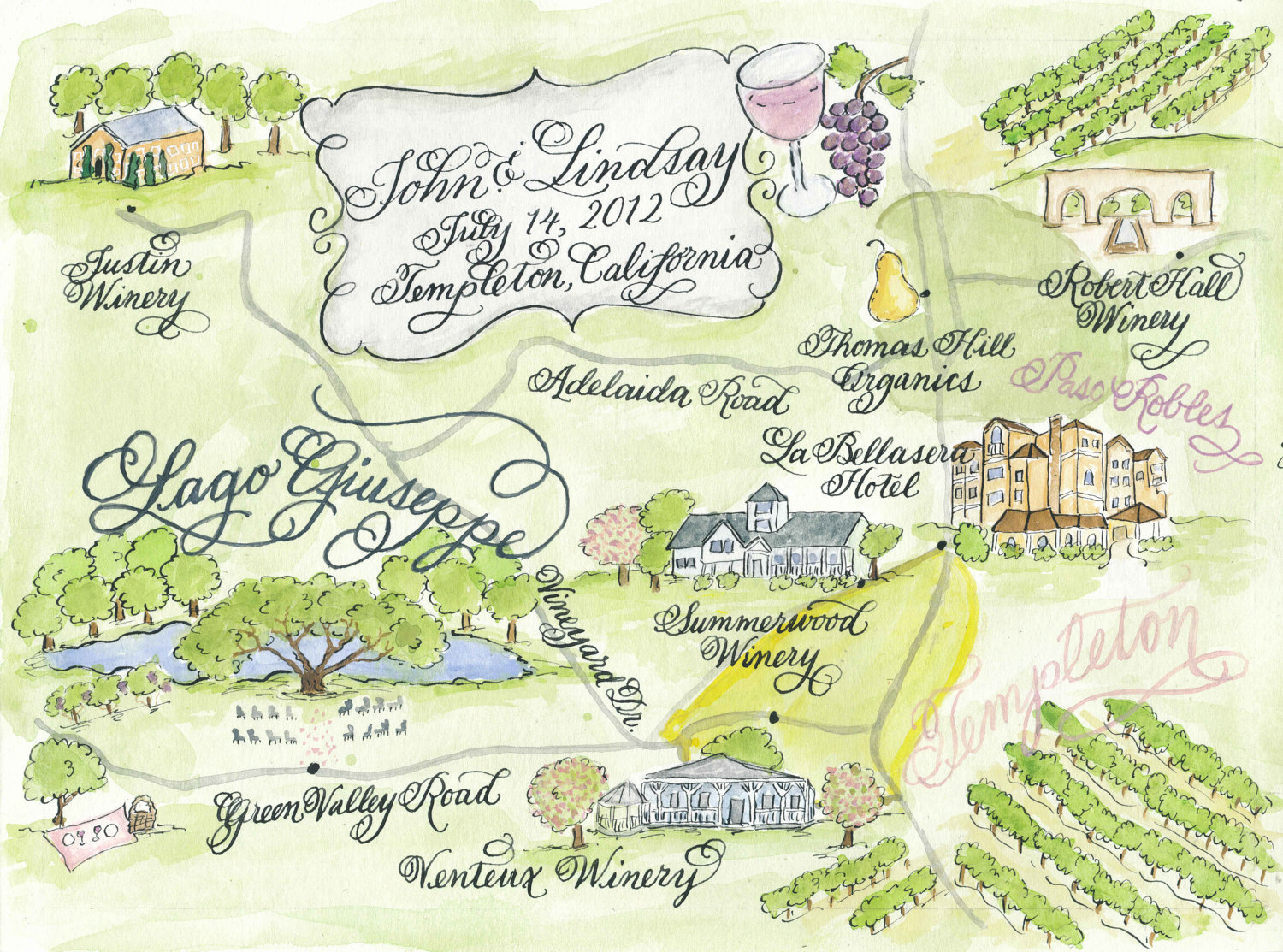 Wedding Map Hand Painted Watercolor And Calligraphy Print At Home
