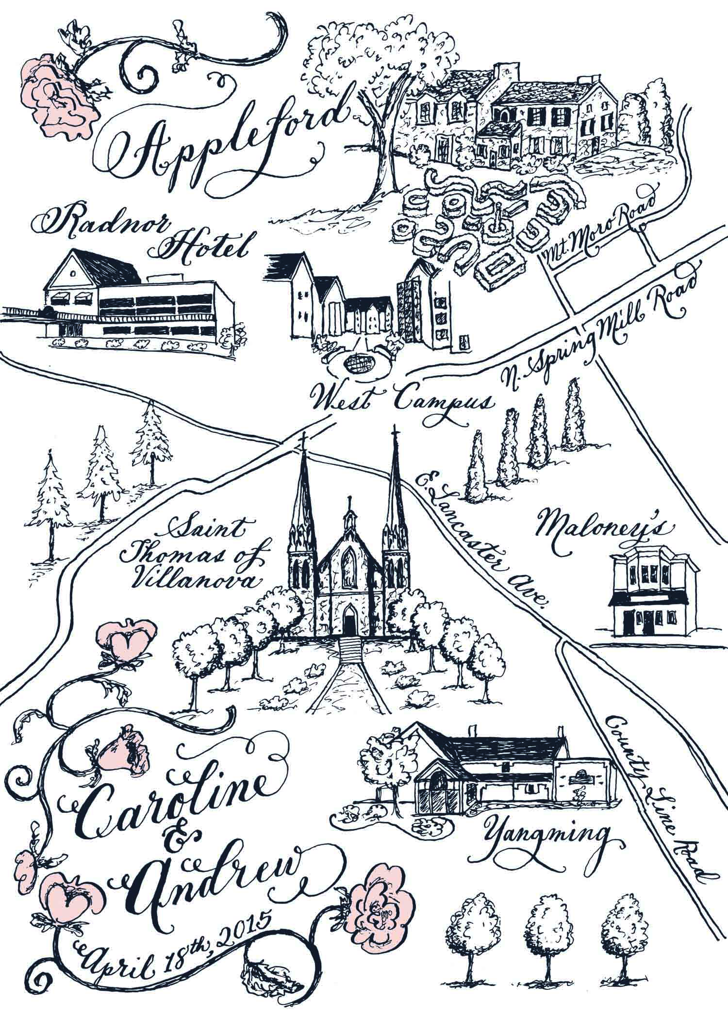 Caroline and Andrew Appleford wedding map by Robyn Love