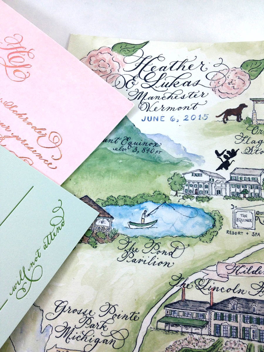 watercolor wedding map MANCHESTER