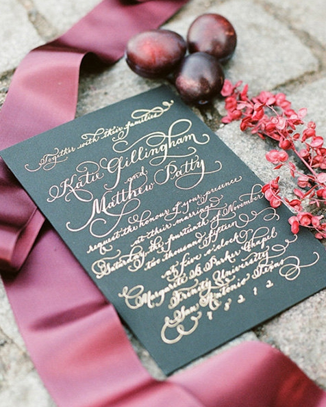 foil wedding invitation calligraphy