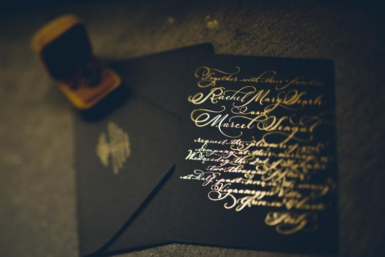 Gold Foil calligraphy wedding invitation