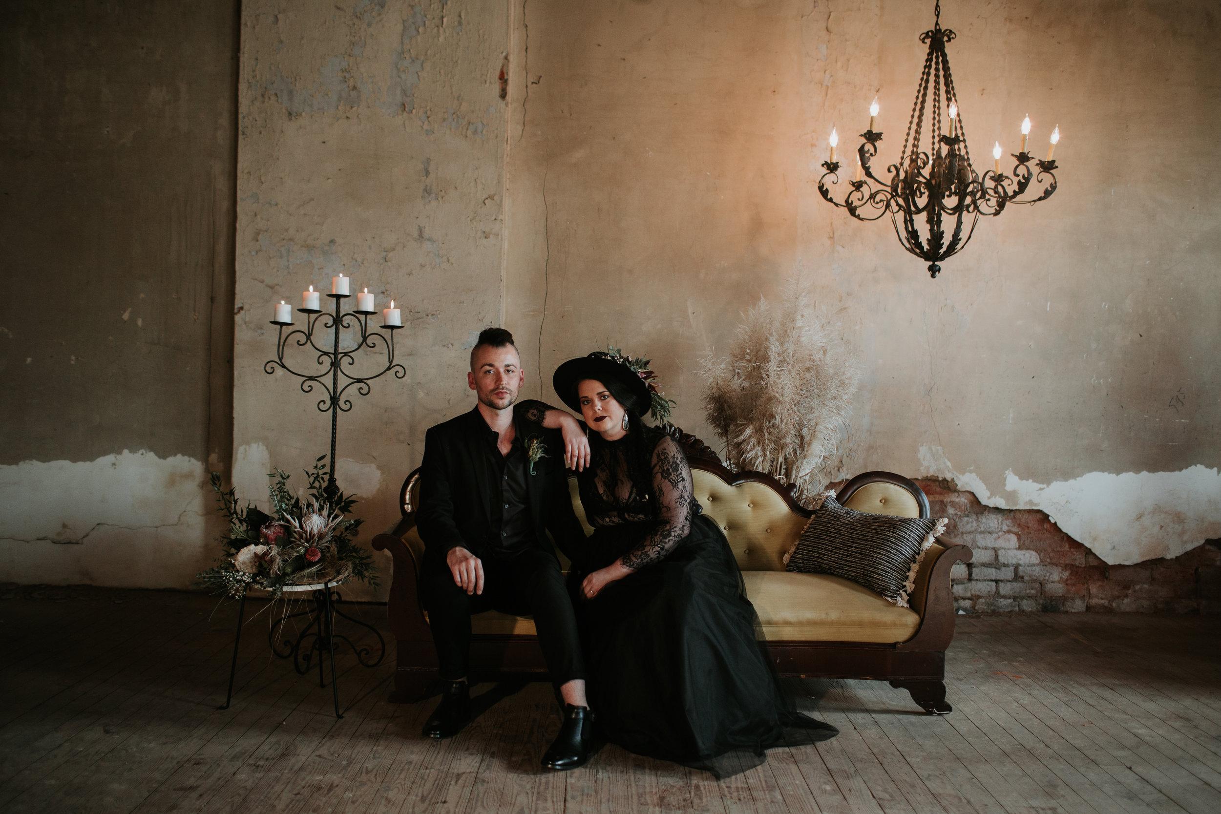 Black wedding dress photography