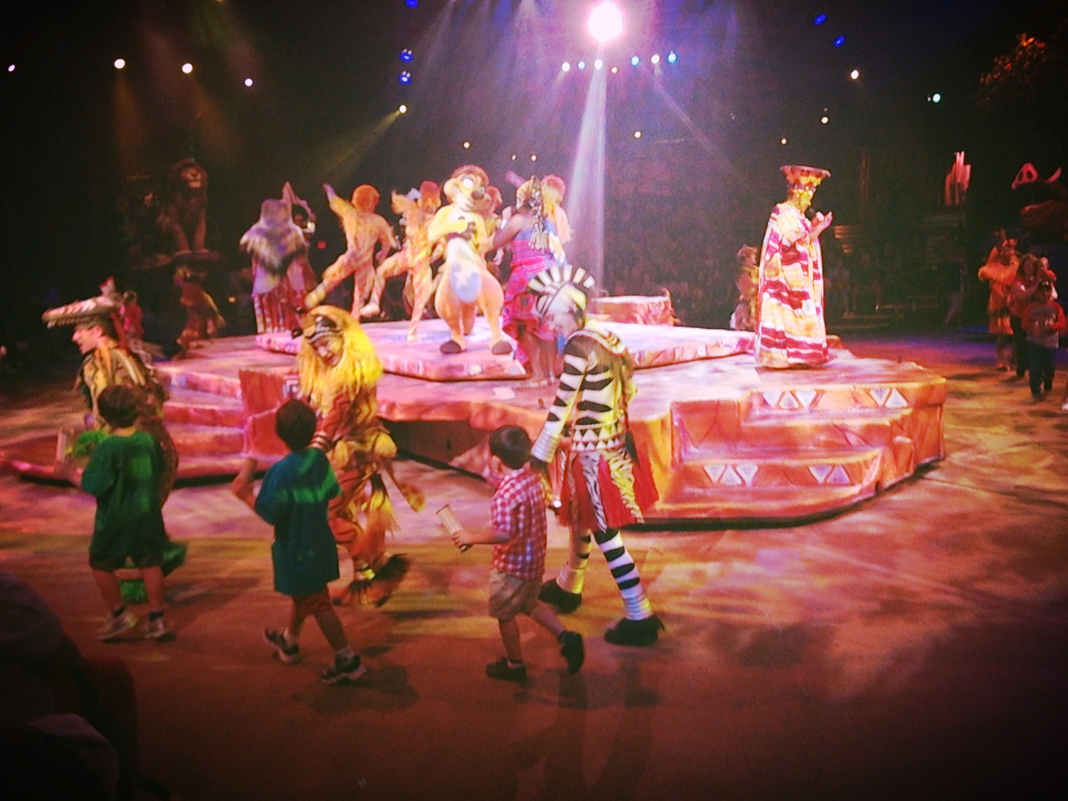 At the Lion King show, Mark Jacinto was chosen to meet the characters. He gave a high five to the guy.