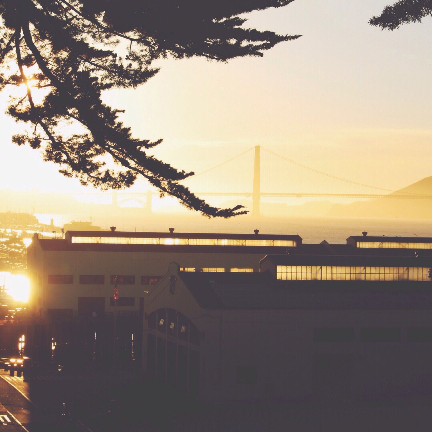Sunset! View of Golden Gate Bridge from Fort Mason area.