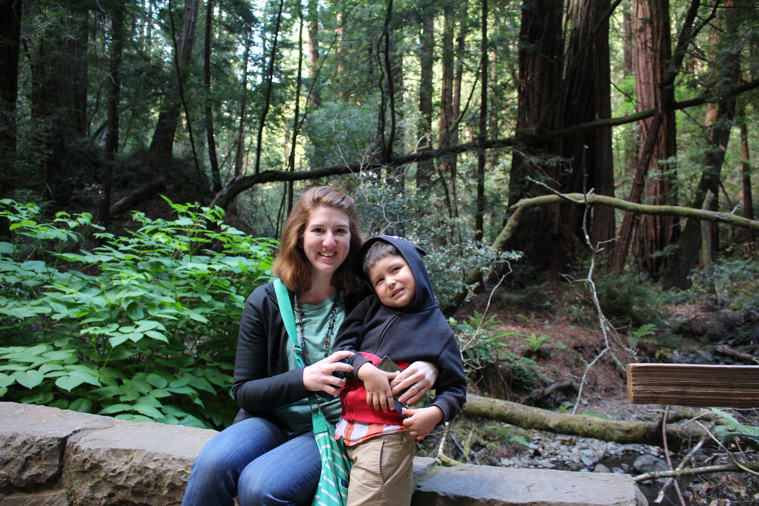 At Muir Woods with auntie.