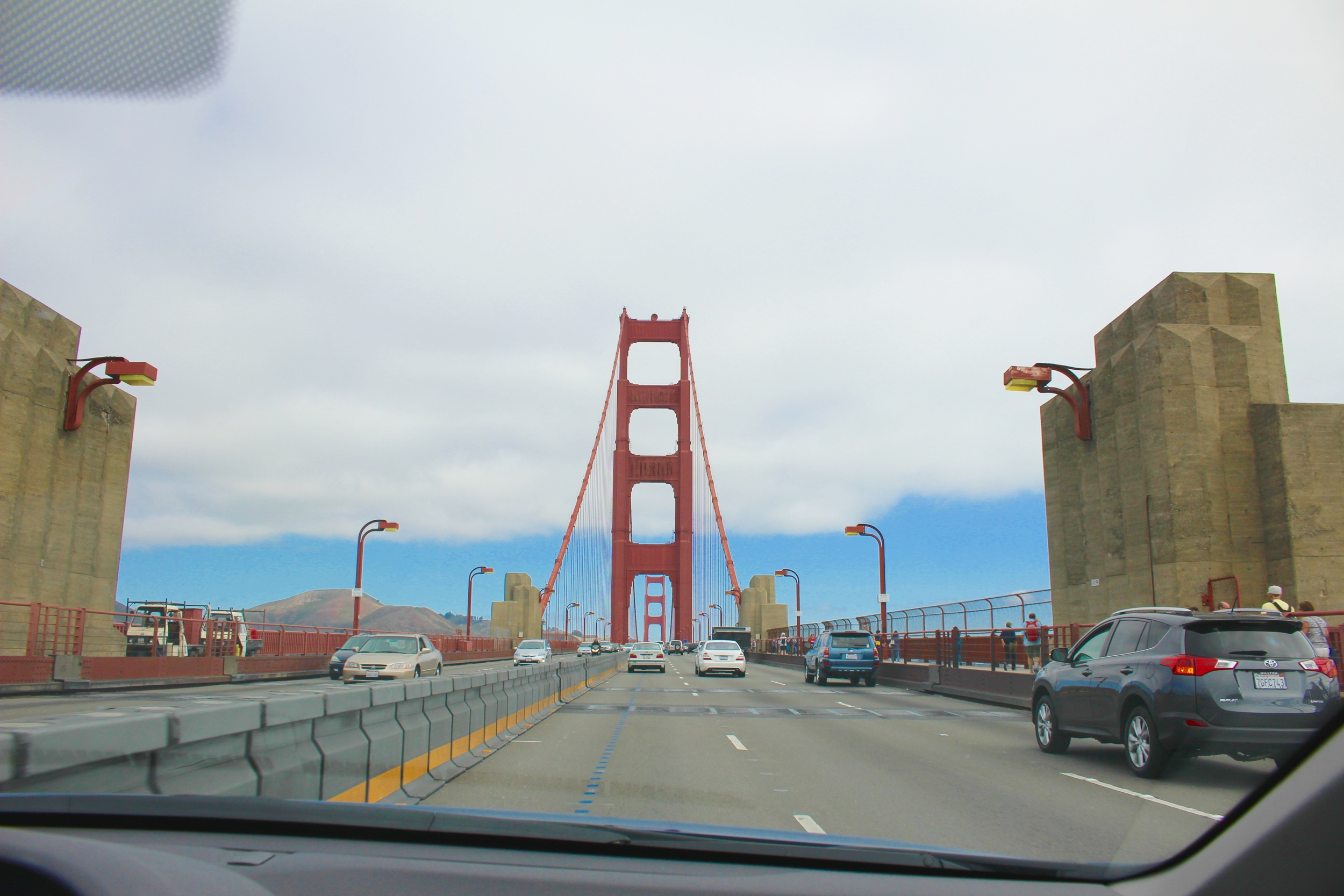 Crossing the bridge to get to the museum.