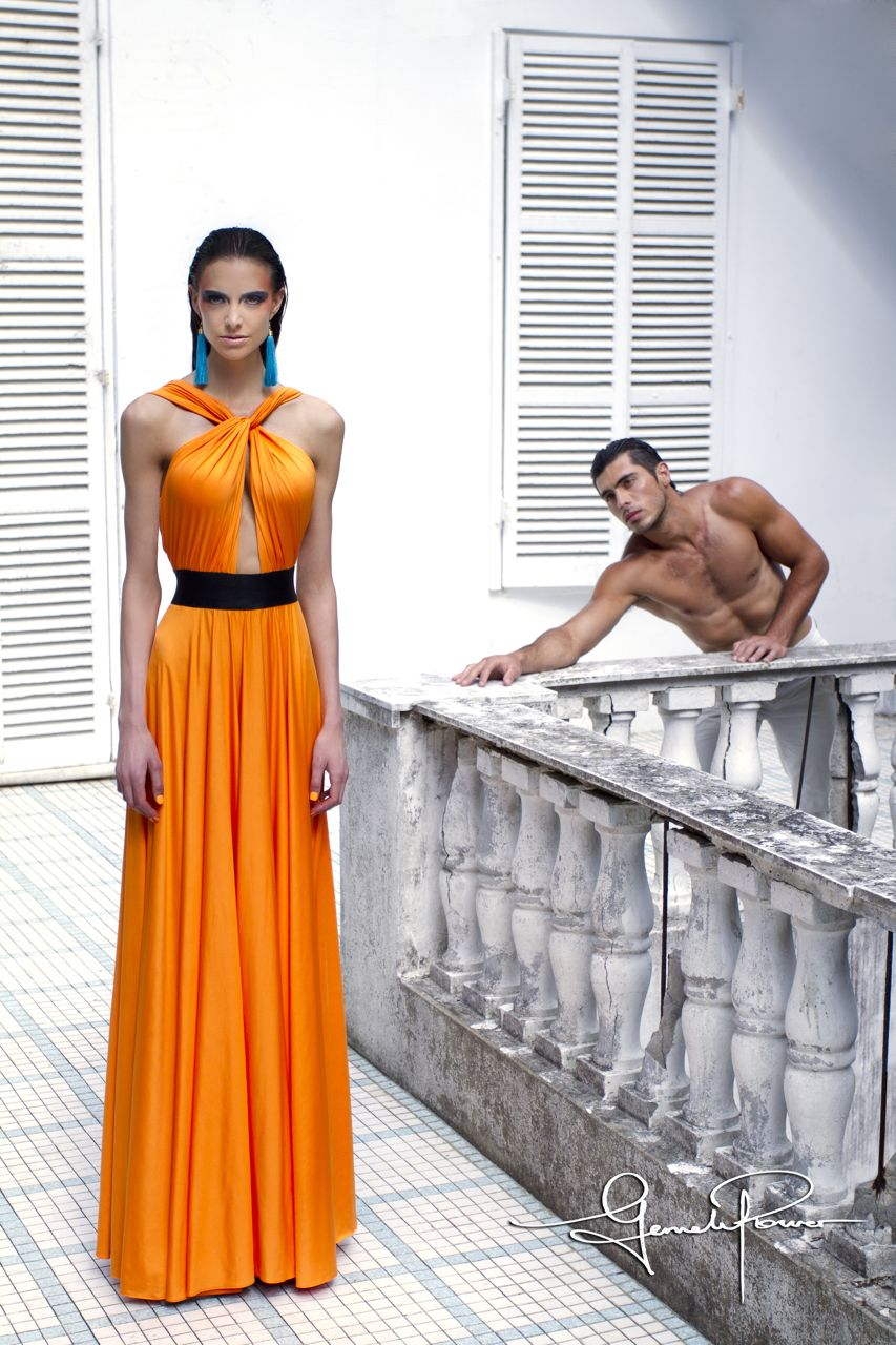 Gemeli Power Signature Label, The Meilleur Dress in Orange Pop Front..jpg