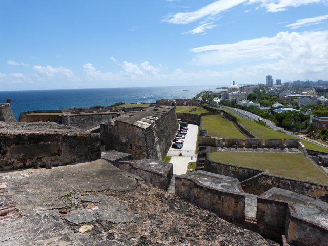 It took 150 years to build the castillo. It's the largest Spanish fort in the New World. This view looks east toward the modern downtown and beachfront.