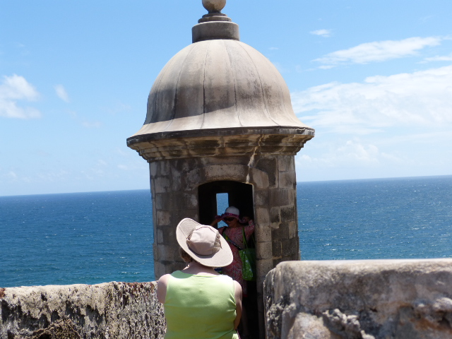 Dail photographing a mom and her son in a guard tower at El Morro. Taking a photo of Dail in the tower I lost my hat. I recovered it, luckily, but only after an extraordinary effort along the parapet. I thought it was gone with the wind.