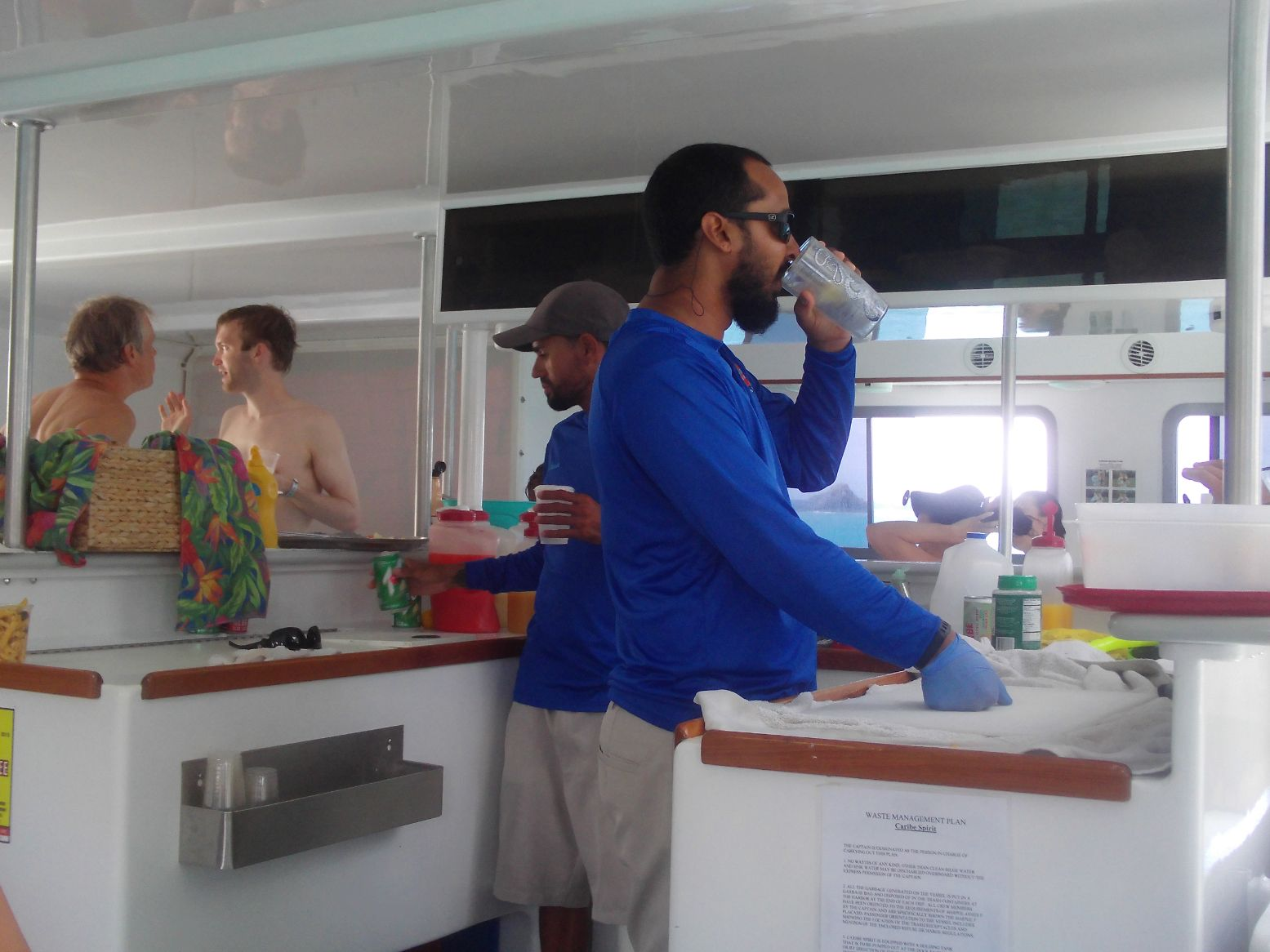 Two of the crew. Must have been 6 or so of them. All very helpful and ready to provide a beverage, tips on wearing the snorkel mask, or (gulp) to bring barf bags.