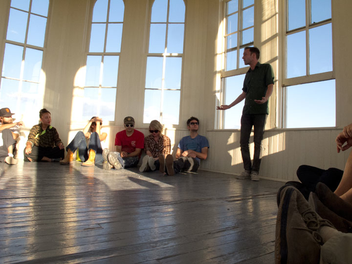 "Performance of Donald Barthelme's ""I Bought a Little City"" in the cupola of the Presidio County Courthouse, Marfa TX"