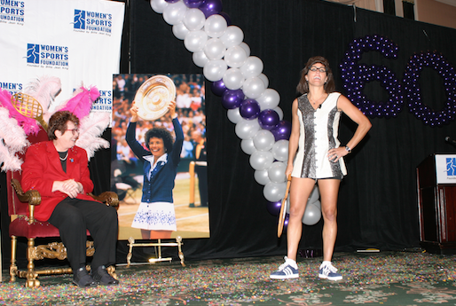 Billie Jean King and Julie Foudy at Billie Jean's 60th Birthday Party