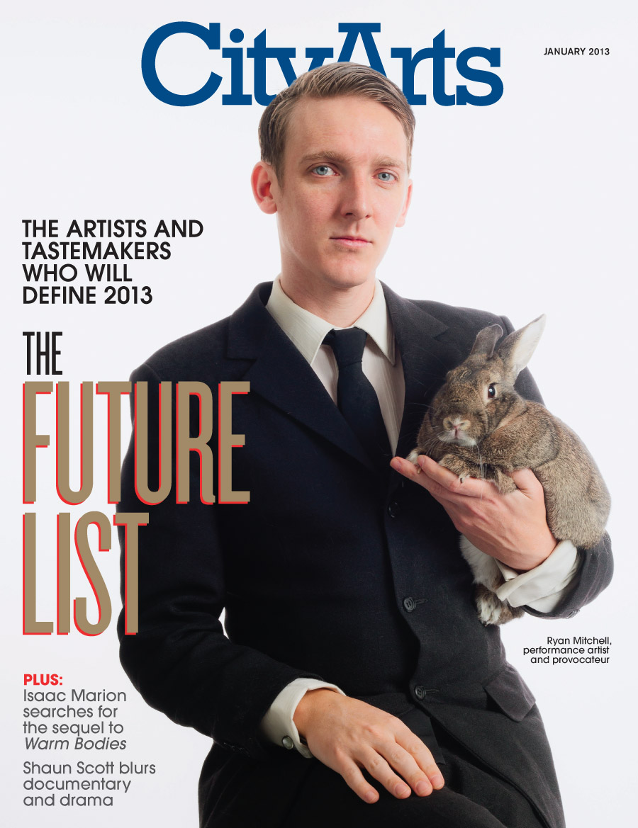 Portrait for the cover of City Arts magazine by Seattle based photographer Dylan Priest.