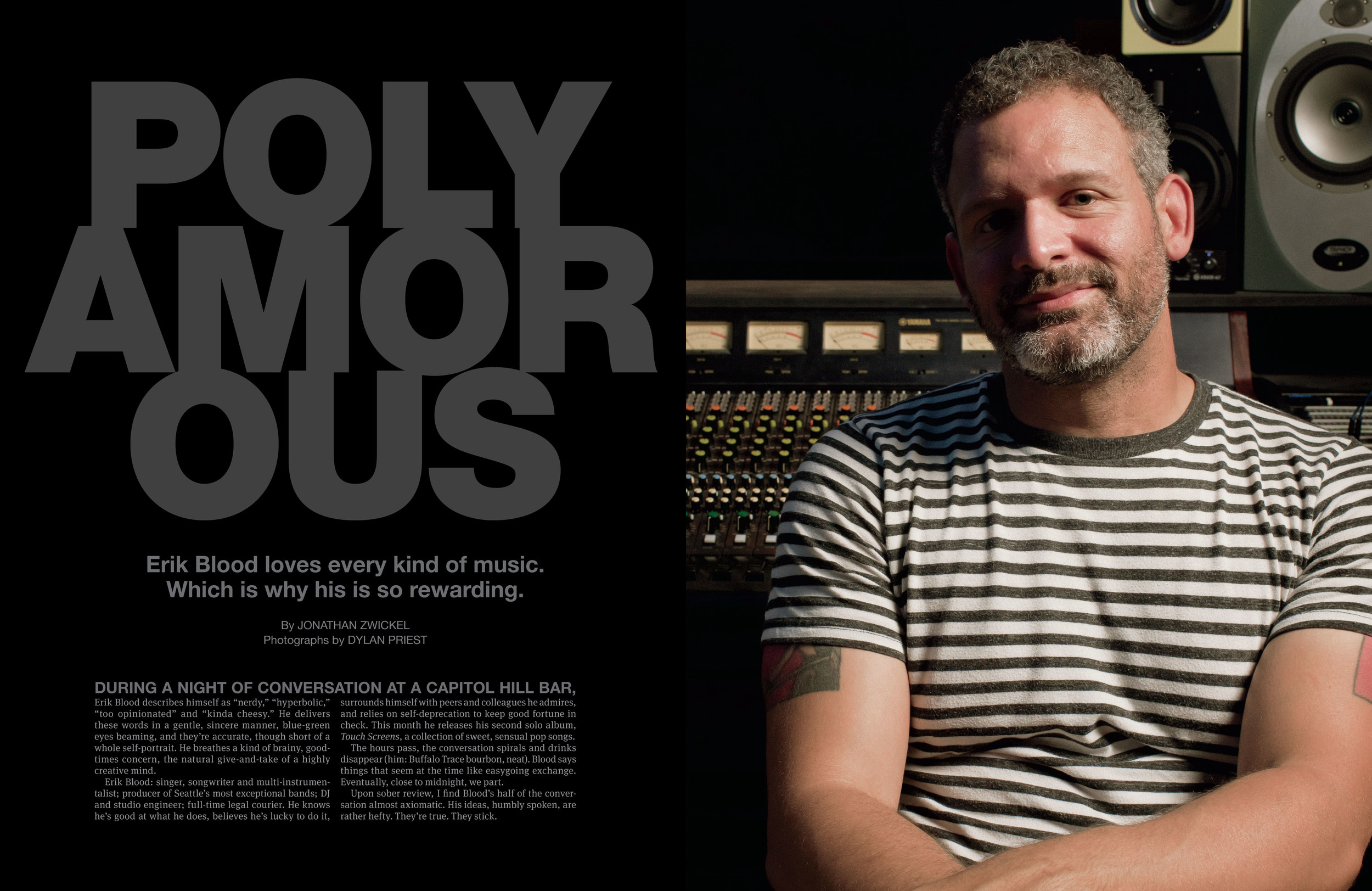 Portrait of Erik Blood for City Arts Magazine by Seattle based photographer Dylan Priest
