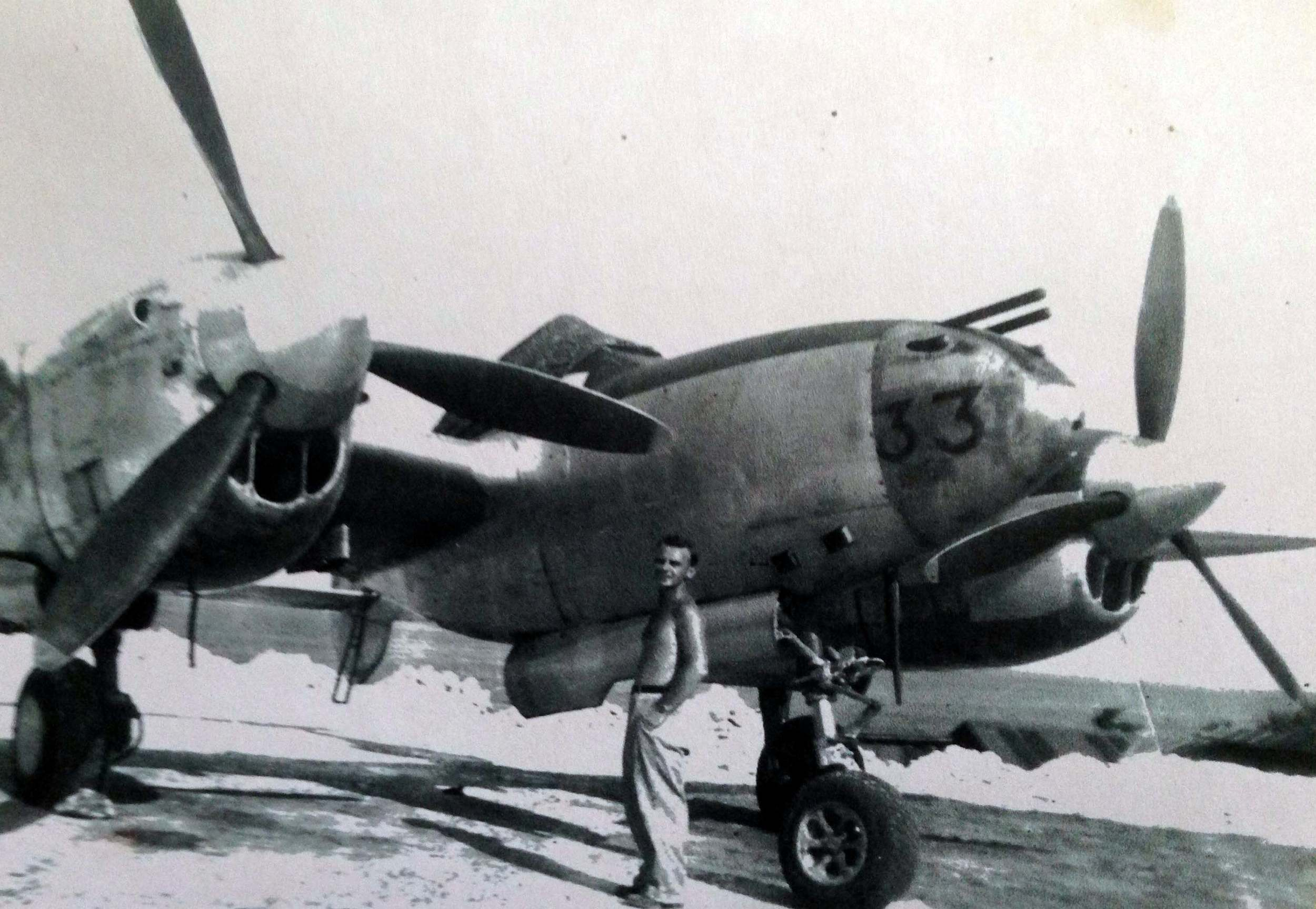 Jack with a P-38 warplane. When the US introduced these new powerful engines, the Japanese thought the US was so short on pilots that they had one pilot flying 2 planes at once.