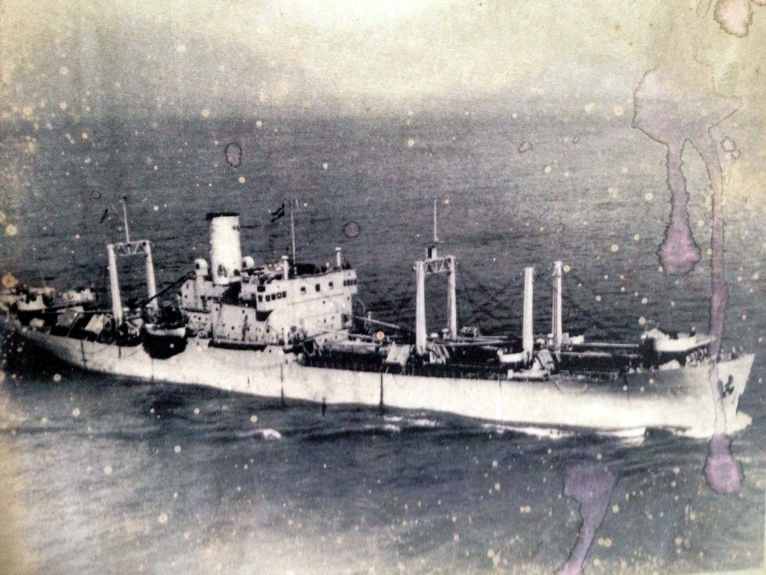 A ship in the South Pacific. Mail arrived on ships like this.