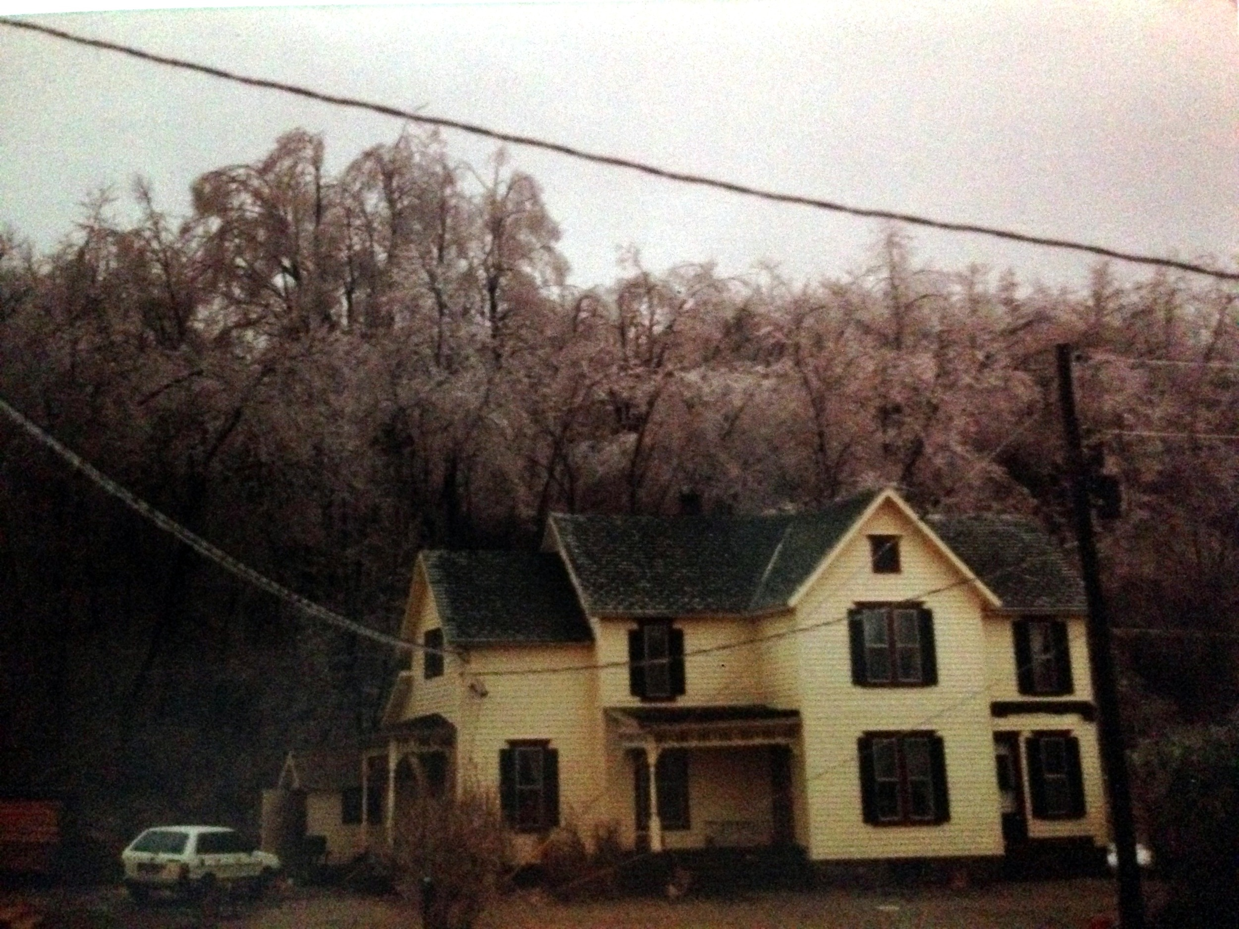 This is my parents house, and if you look closely, you will see that every tree and power line is covered in a thick coat of ice.