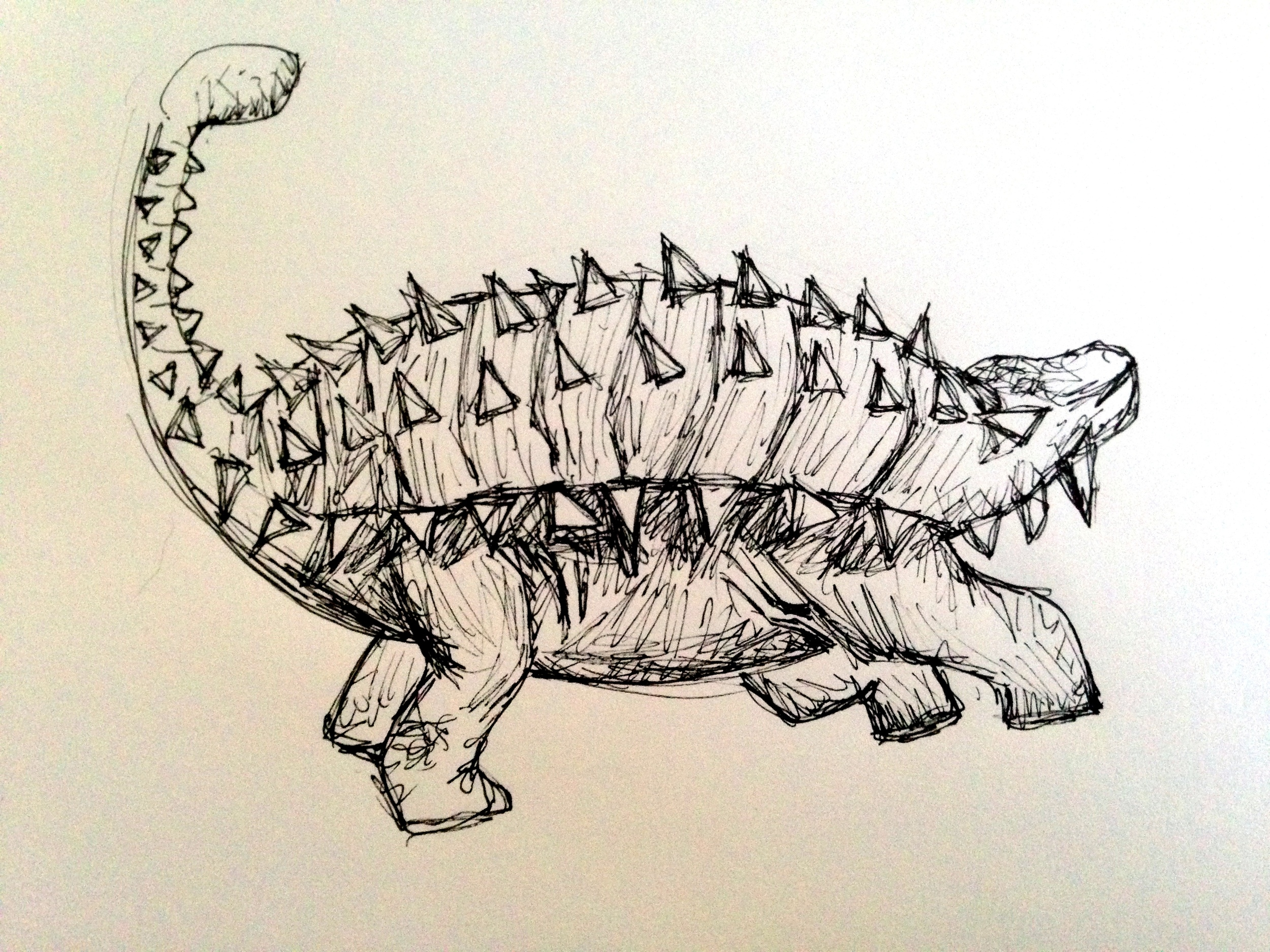 This is an Anklyosaurus. The one my brother made was red and lived in shoe box.
