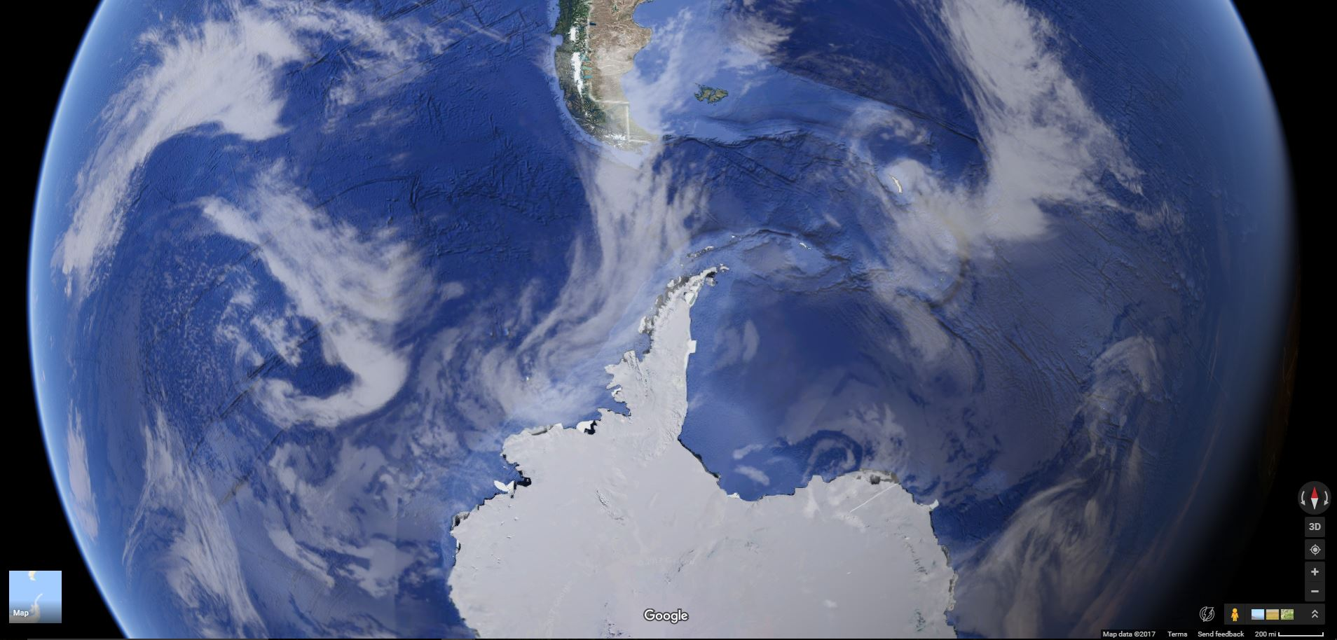 Just in case you don't know where Antarctica is. See that little green tail at the top? That's Chile, South America. Seriously though, go on  Google maps  sometime and check out the bottom of the planet.