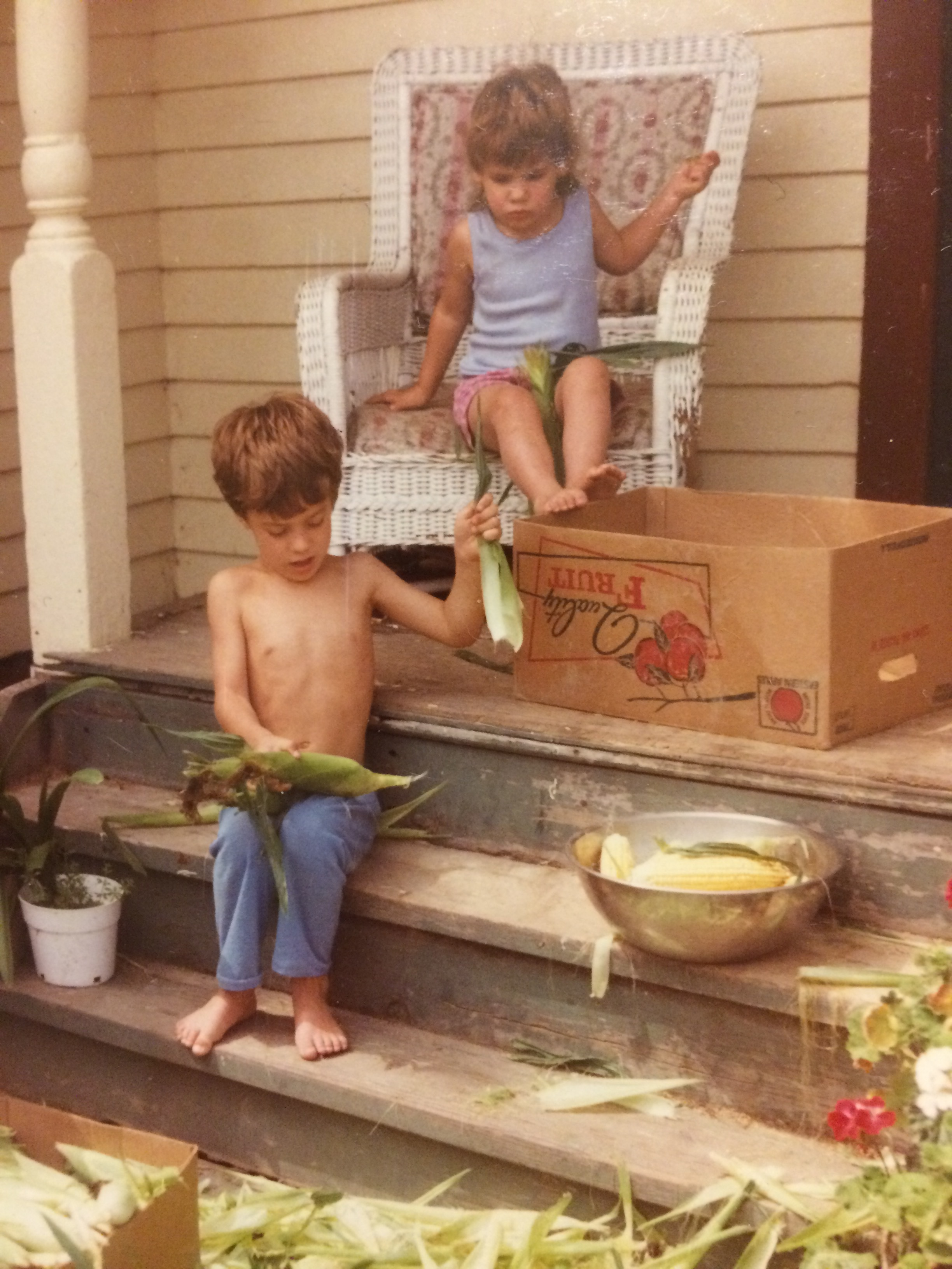 Aw, Shucks - I couldn't find a first day of school picture, so instead, here's a first day of summer picture with my brother and I shucking corn.