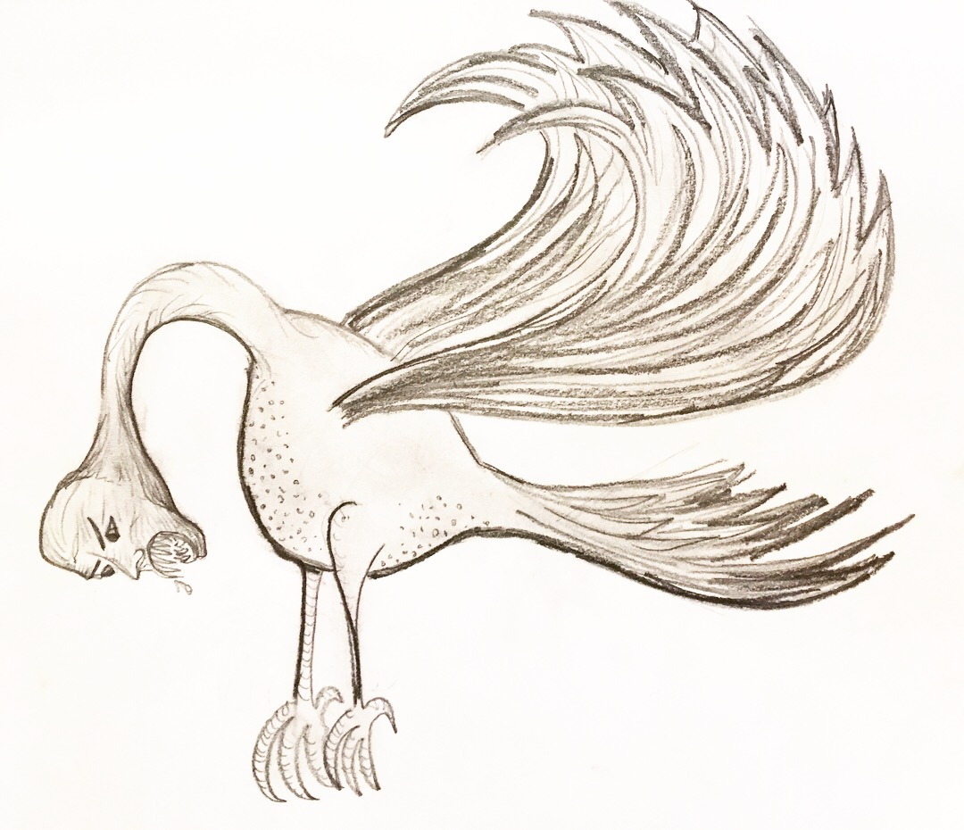 Image of a hulla: long curved neck, wings, and a human face.