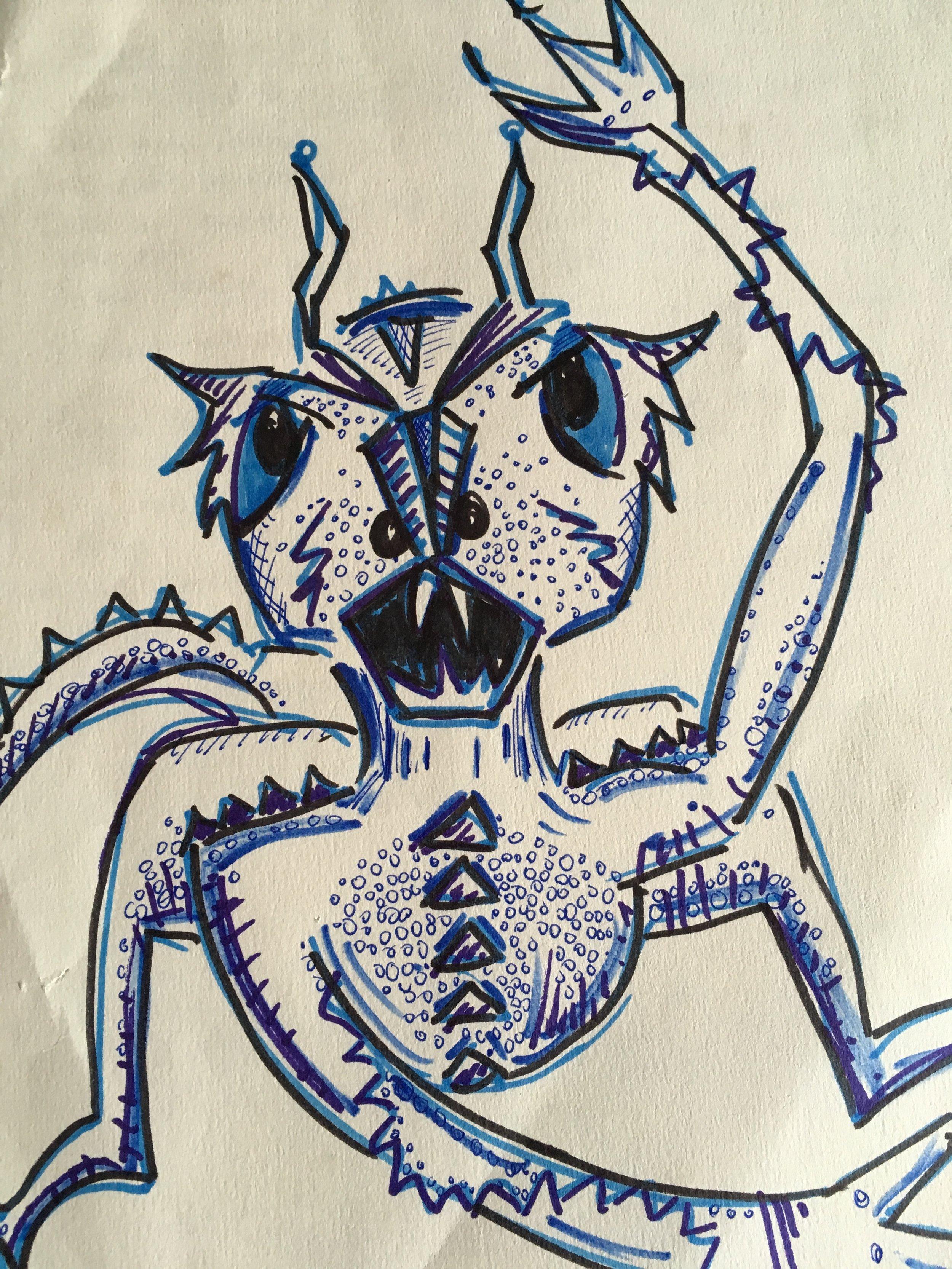 Image of a gyik, with sharp teeth, lizard-like body, running on hind legs.