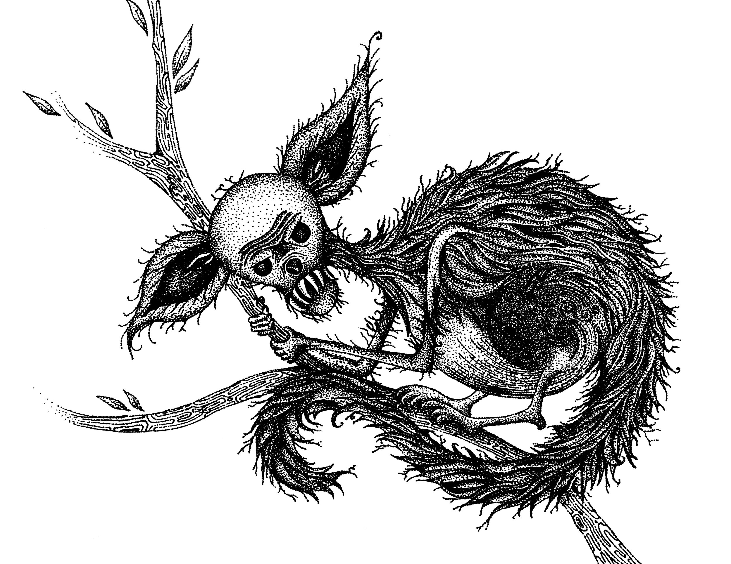 A minket sitting on a branch, with big ears, long tail, wiry fur done in pointilism.
