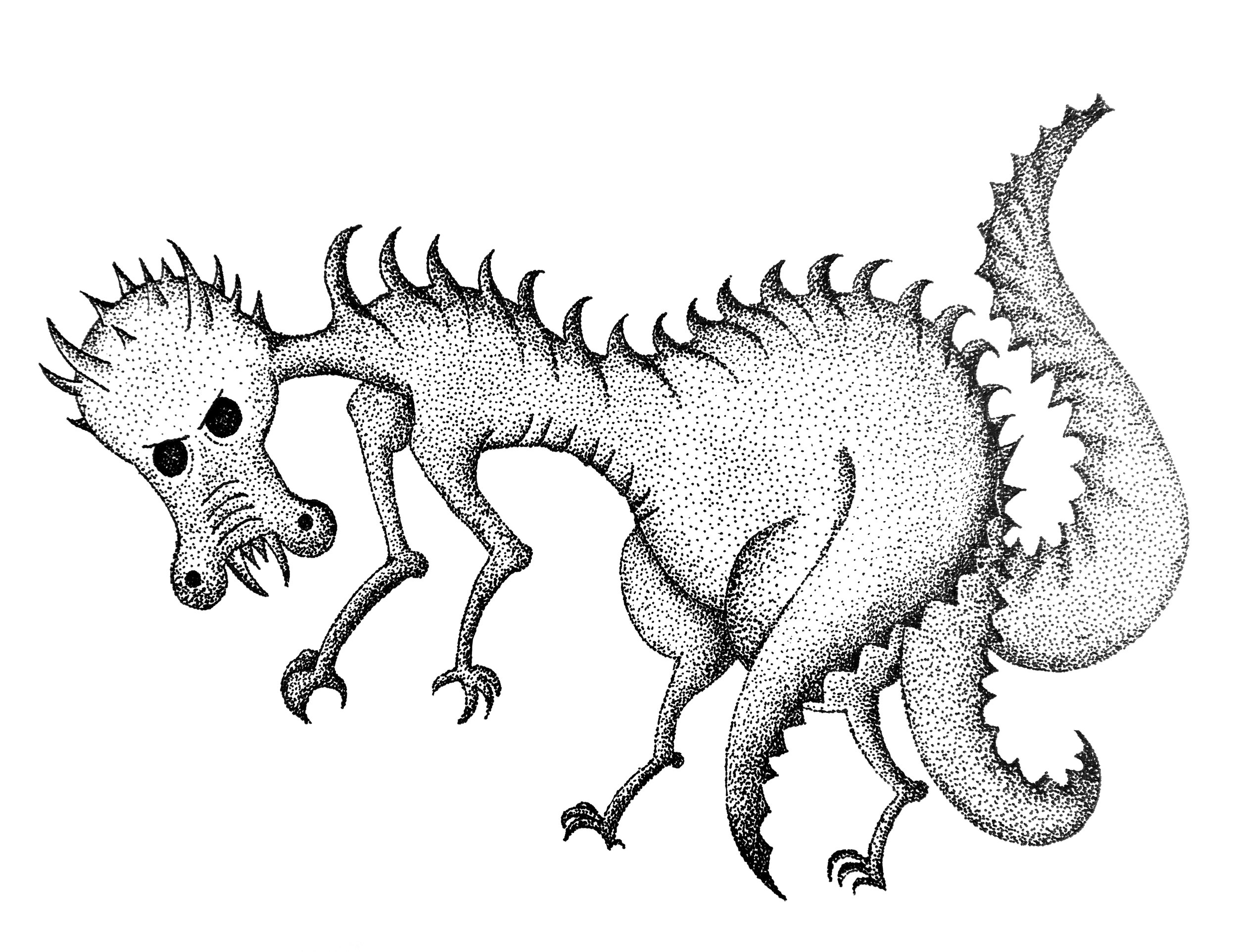 Stippled illustration of a lecui.