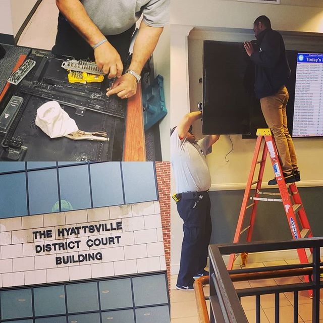 Digital signage installation for all 33 district courts in #Maryland.  1 down 33 to go.  #lntechllc #entrepreneurship #work