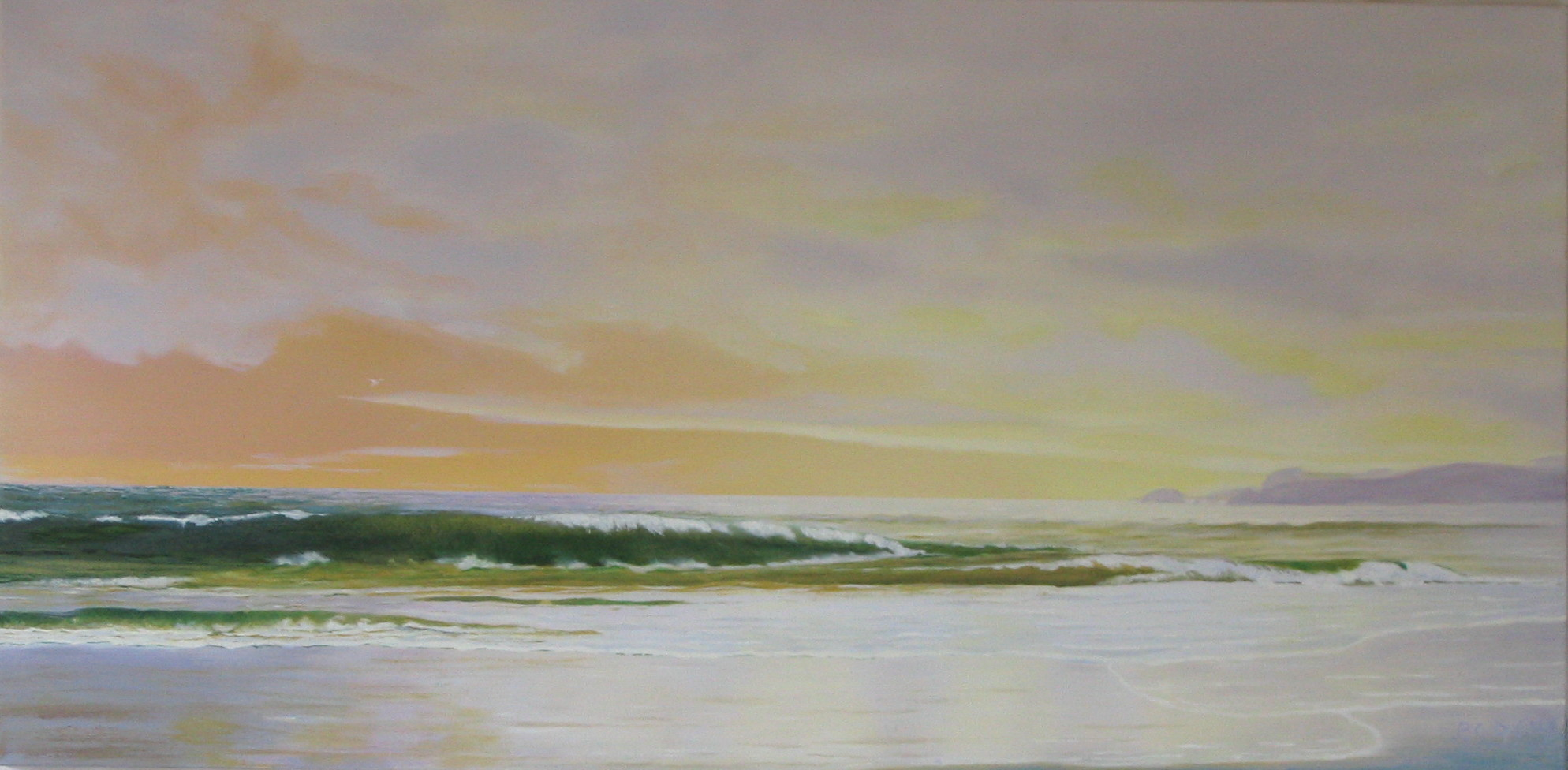 """""""Ocean Waves Take Us to the Shore."""" 1  Oil on Canvas. 20x40"""