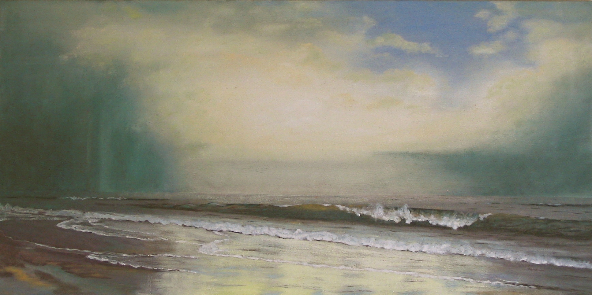 """""""Ocean Waves Take Us to the Shore"""" 2  Oil on Canvas. 20x40 SOLD"""