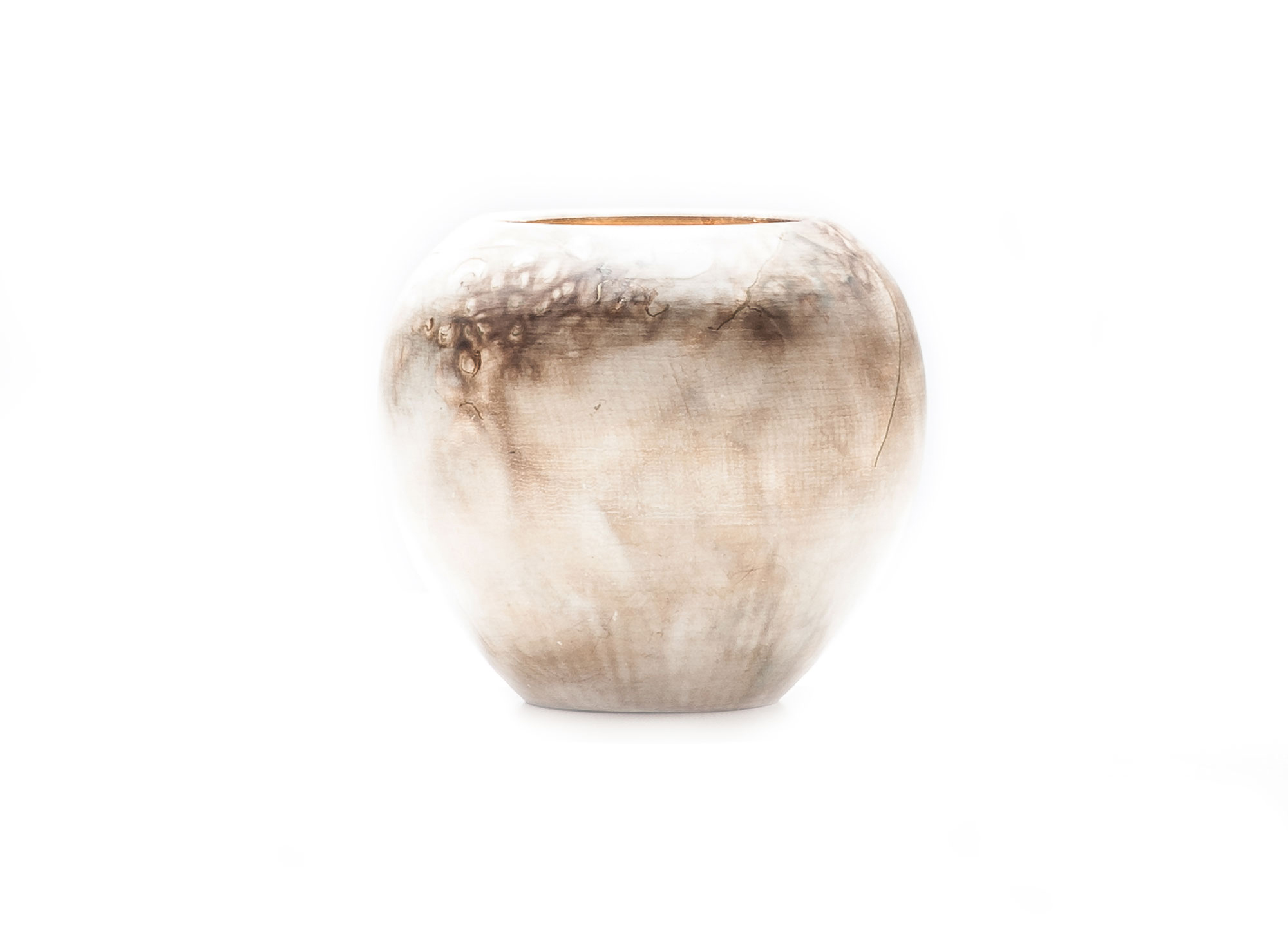 Smoke fired vase with gold leaf