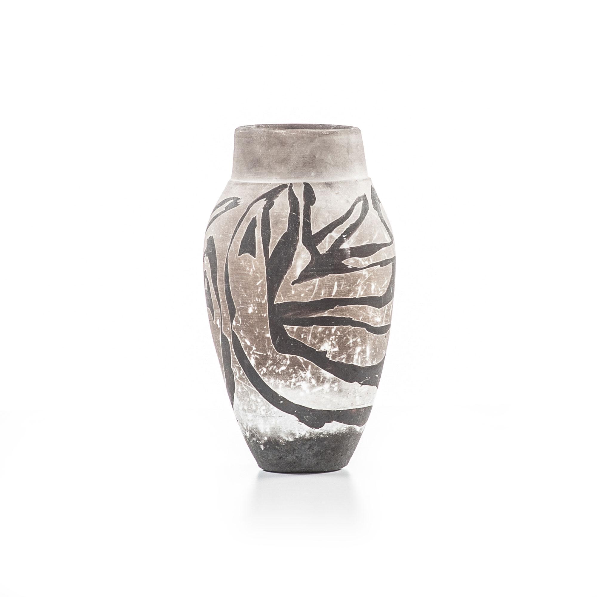 Halo raku vase with figures