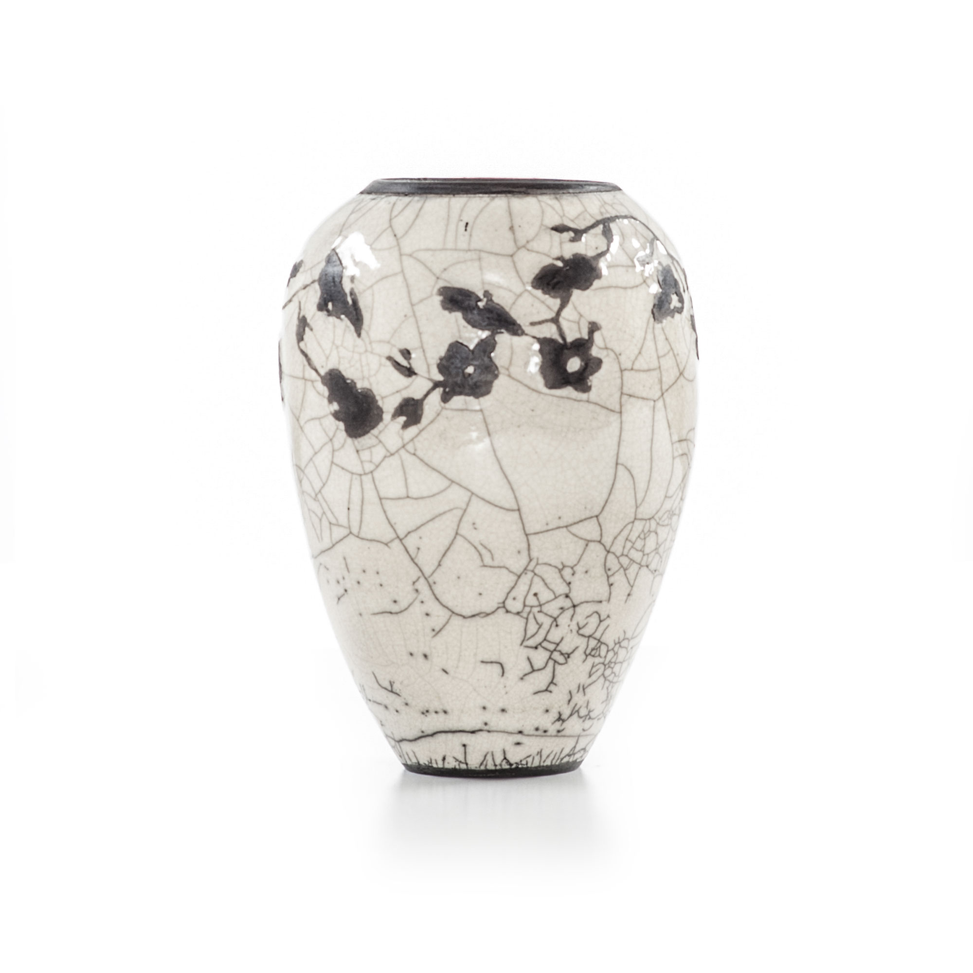 White crackle vase with flowers