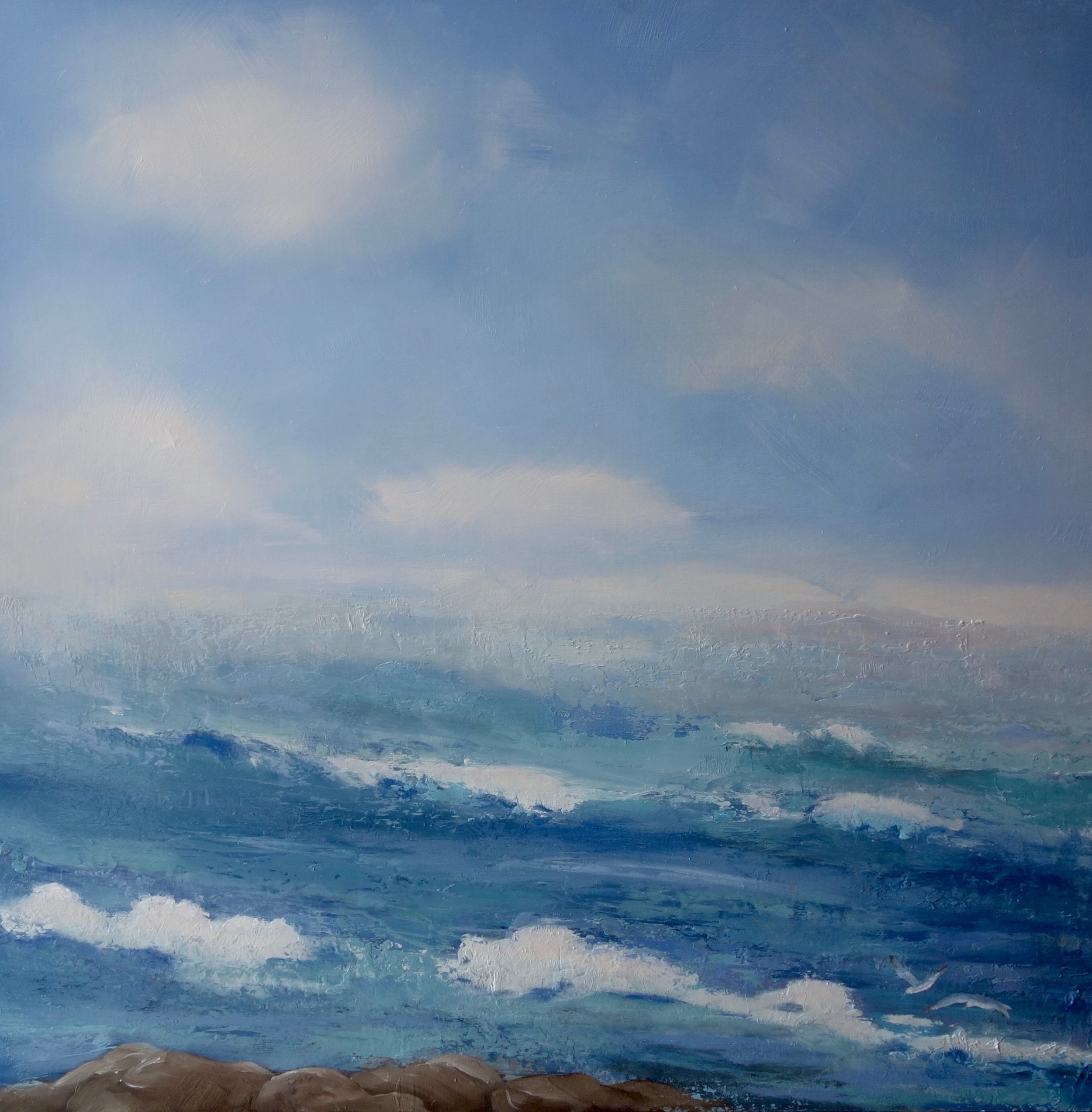 """""""Ocean Says 'Quit Pretending To Be Clear' """"  Oil on Board 24x24"""