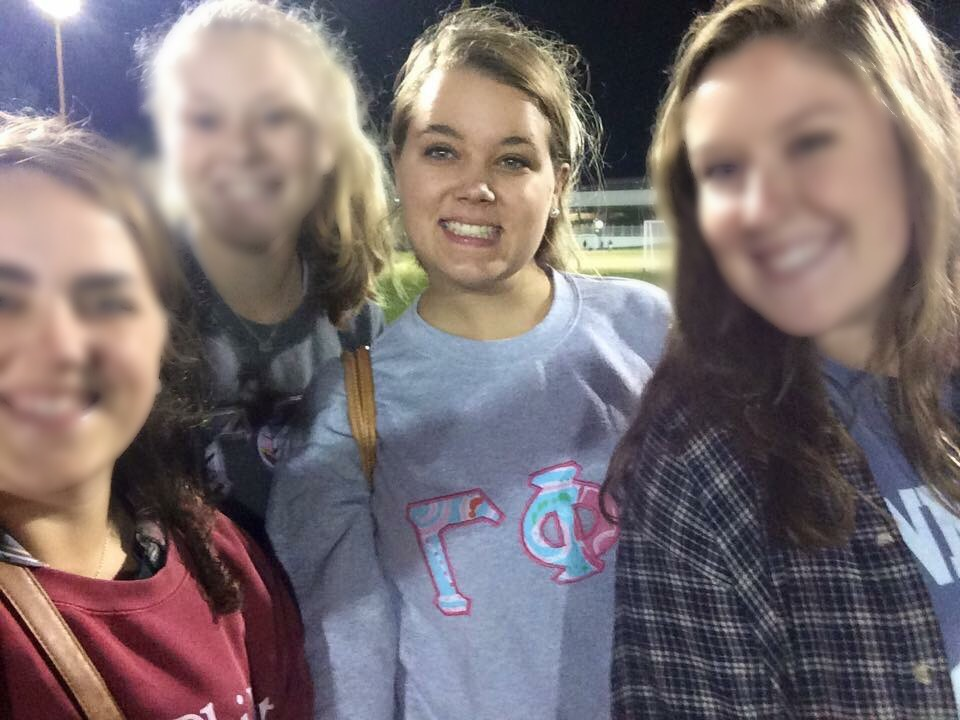 My friend Sarah in her Letters by Alex sweatshirt at a sorority event in Alabama!