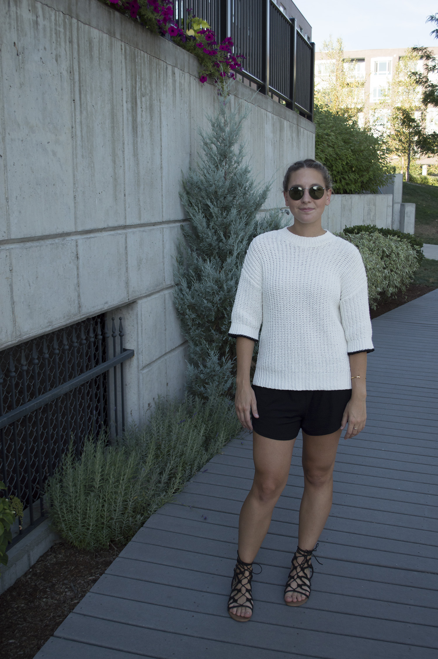 LOFT SWEATER, GOLDEN by TNA SHORTS,  STEVE MADDEN SANDALS , RAY BAN SUNNIES,  GILES AND BROTHER CUFF