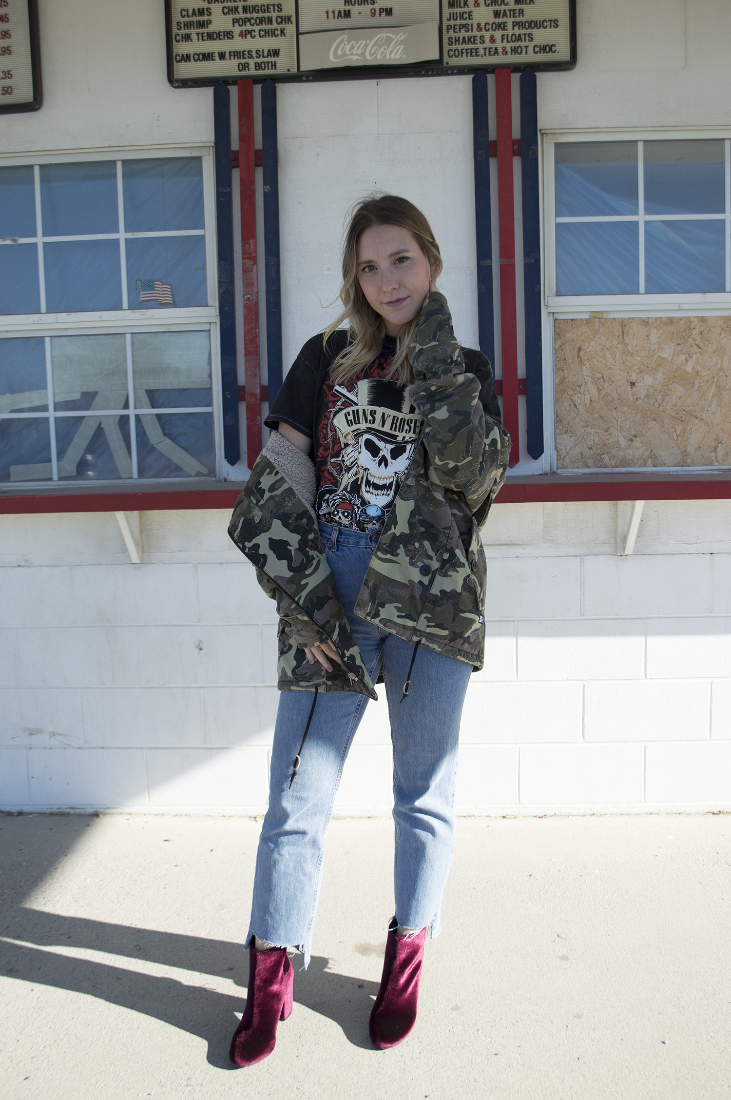 VINTAGE DENIM, ANALOG CAMO JACKET,  STEVE MADDEN ANKLE BOOTS ,  URBAN OUTFITTER'S TEE
