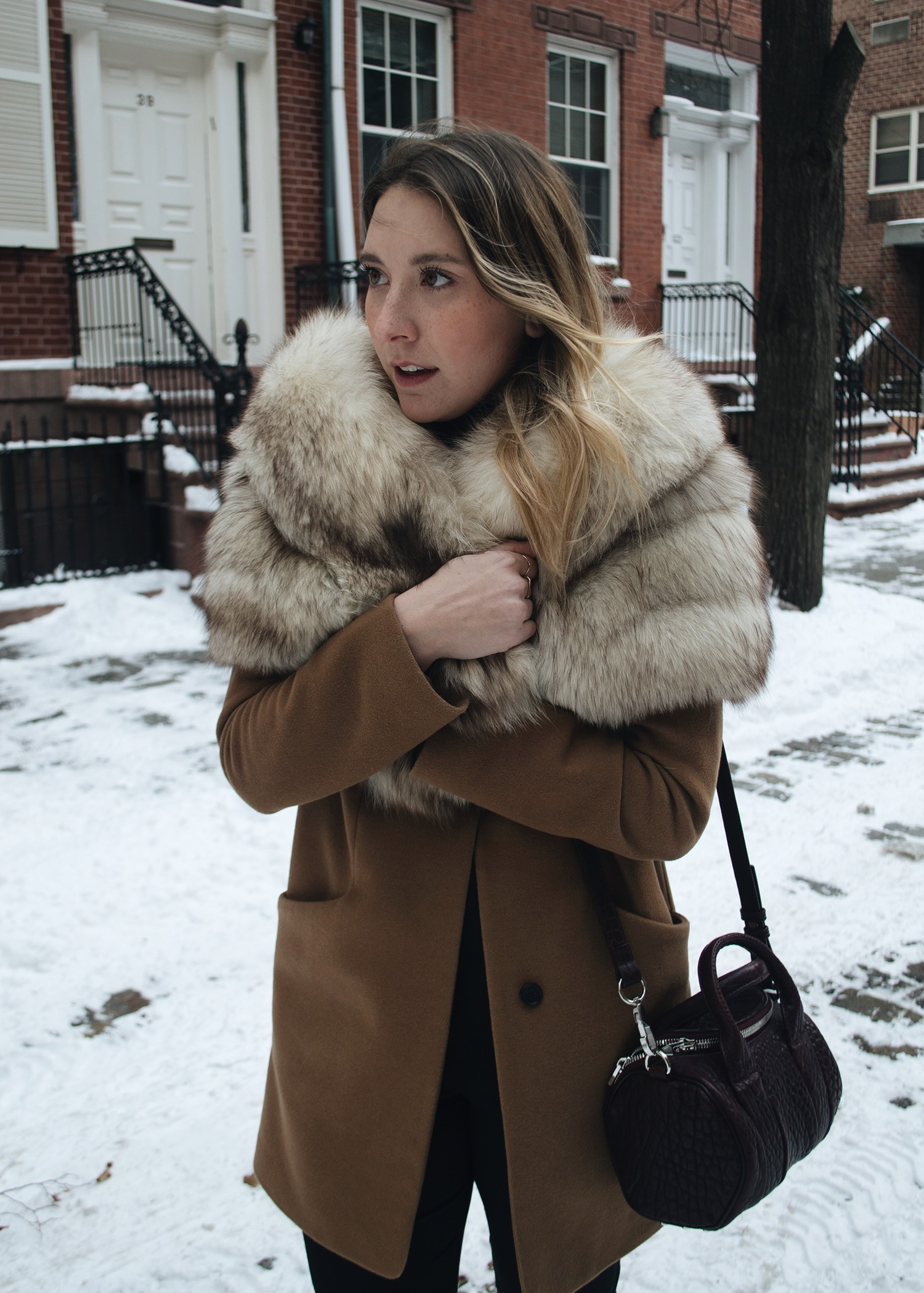 VINTAGE FUR WRAP,  ARITZIA COCOON COAT ,  WHO WHAT WEAR TROUSERS ,  ALEXANDER WANG BAG  AND  BOOT  S
