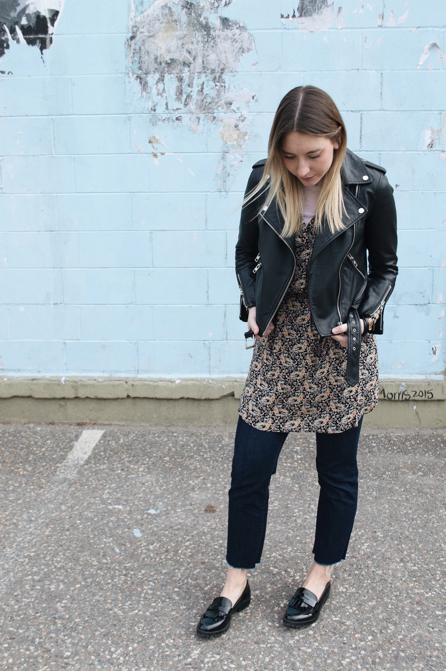 LOFT DRESS, WALTER BAKER LEATHER MOTO JACKET, J BRAND JEANS, ZARA LOAFERS
