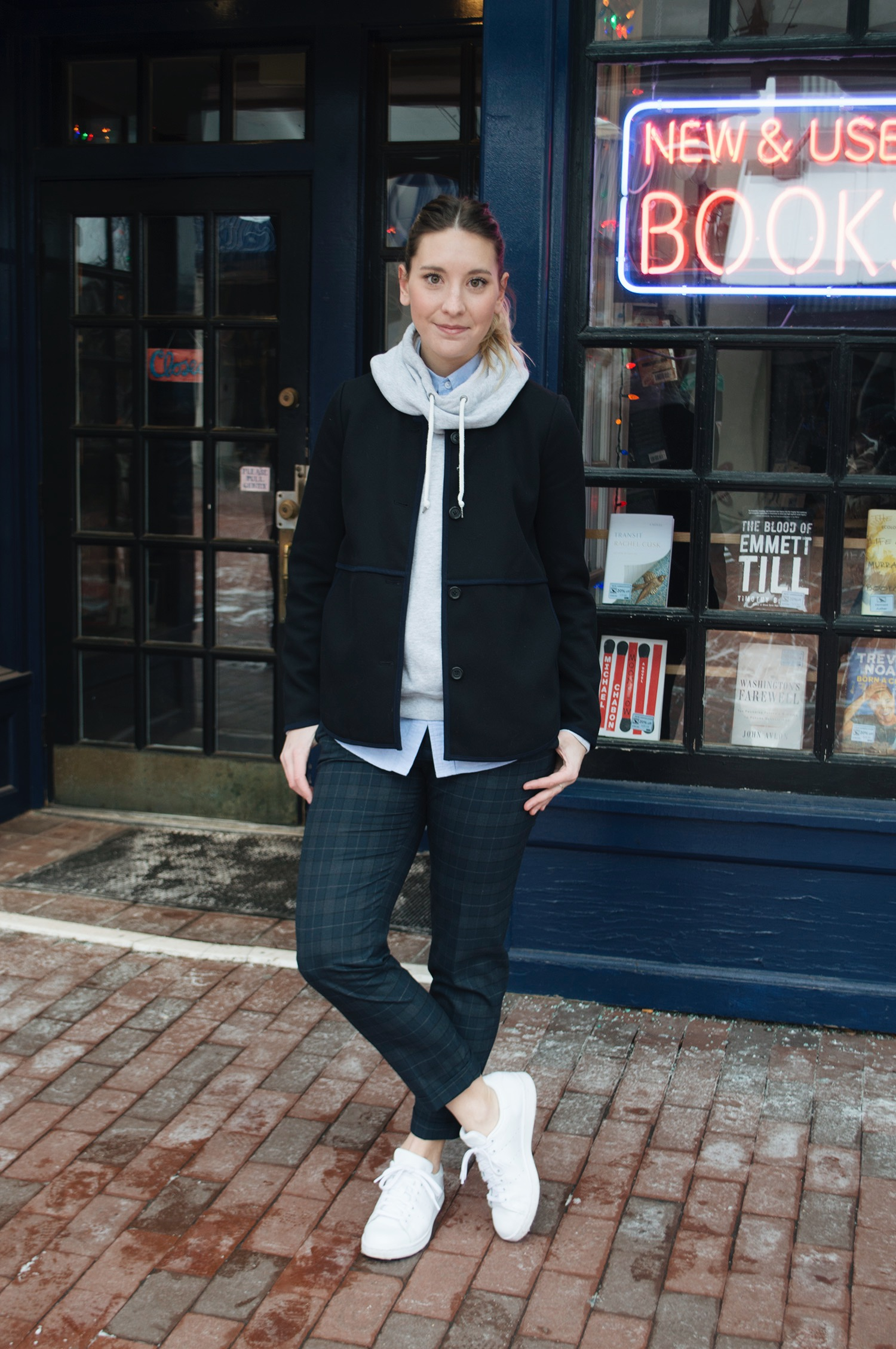 ZARA TROUSERS (SIMILAR  HERE ,  HERE ), J.CREW BLAZER (SIMILAR  HERE ) AND  BUTTON DOWN ,  NIKE PULLOVER ,  STAN SMITH SNEAKERS