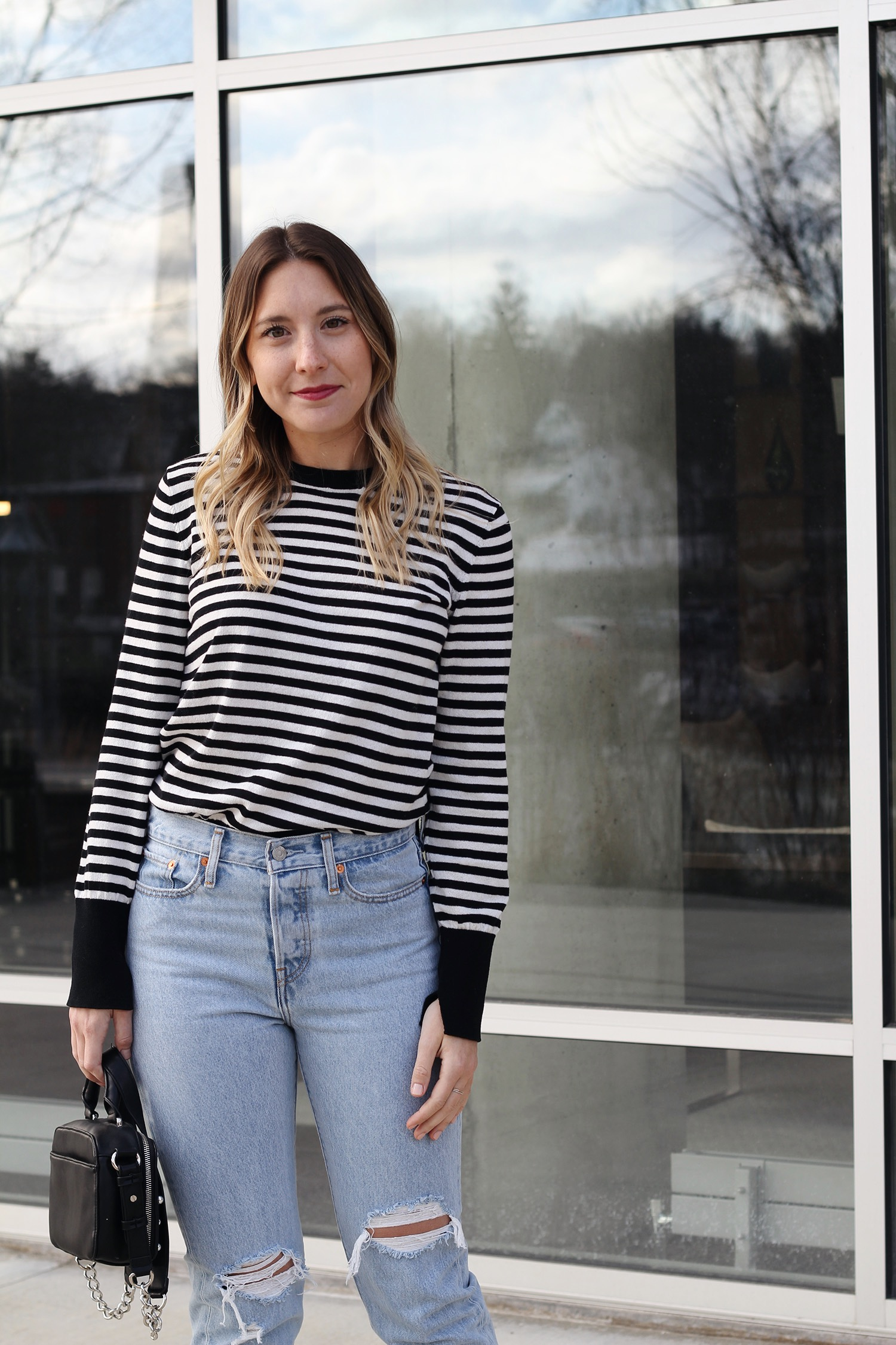 WHO WHAT WEAR SWEATER ,  LEVI'S DENIM , FRENCH CONNECTION BAG,  DOLCE VITA FLATS