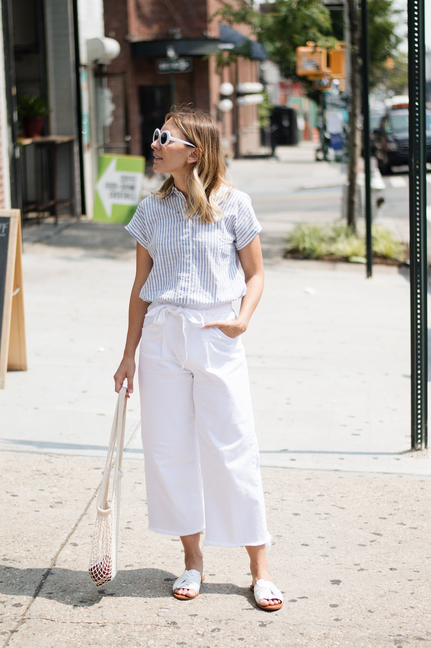 ZARA TROUSERS, WHO WHAT WEAR TOP,  1 STATE SLIDES ,  MARKET TOTE ,  SUNNIES