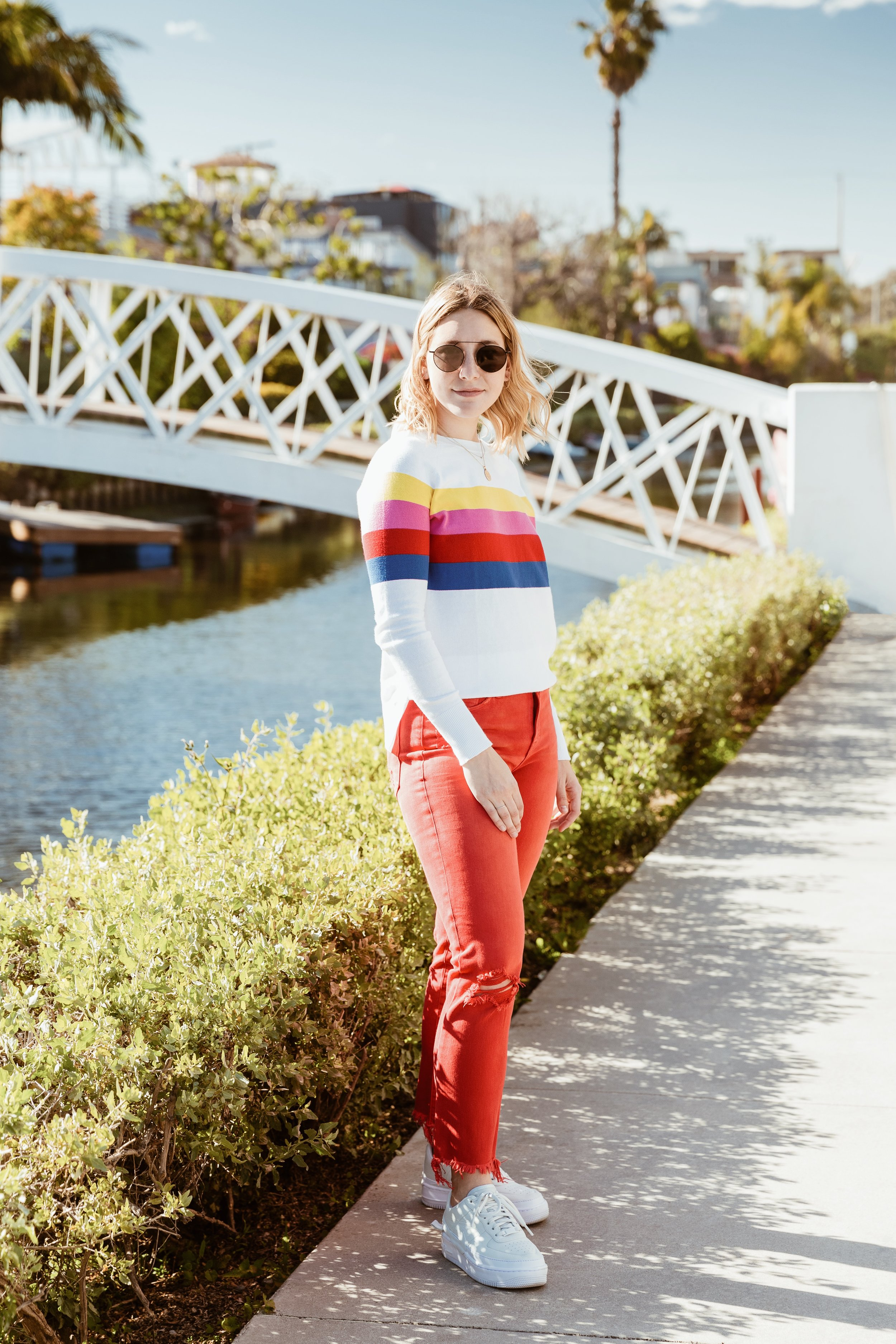 Aqua Sweater ,  Hudson Zoeey High Rise Straight Jeans ,  Nike AF1 Jester XX ,  Illesteva Wynwood Sunnies
