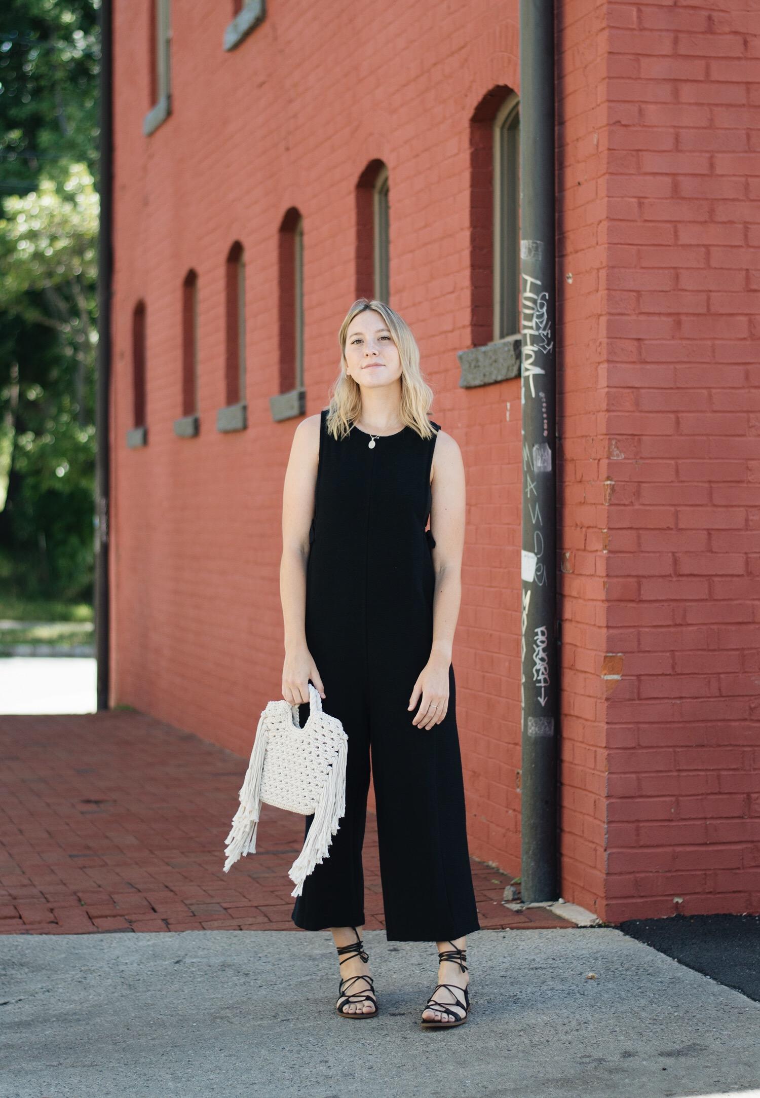 Madewell Jumper  +  Boardwalk Sandals ,  Who What Wear Bag