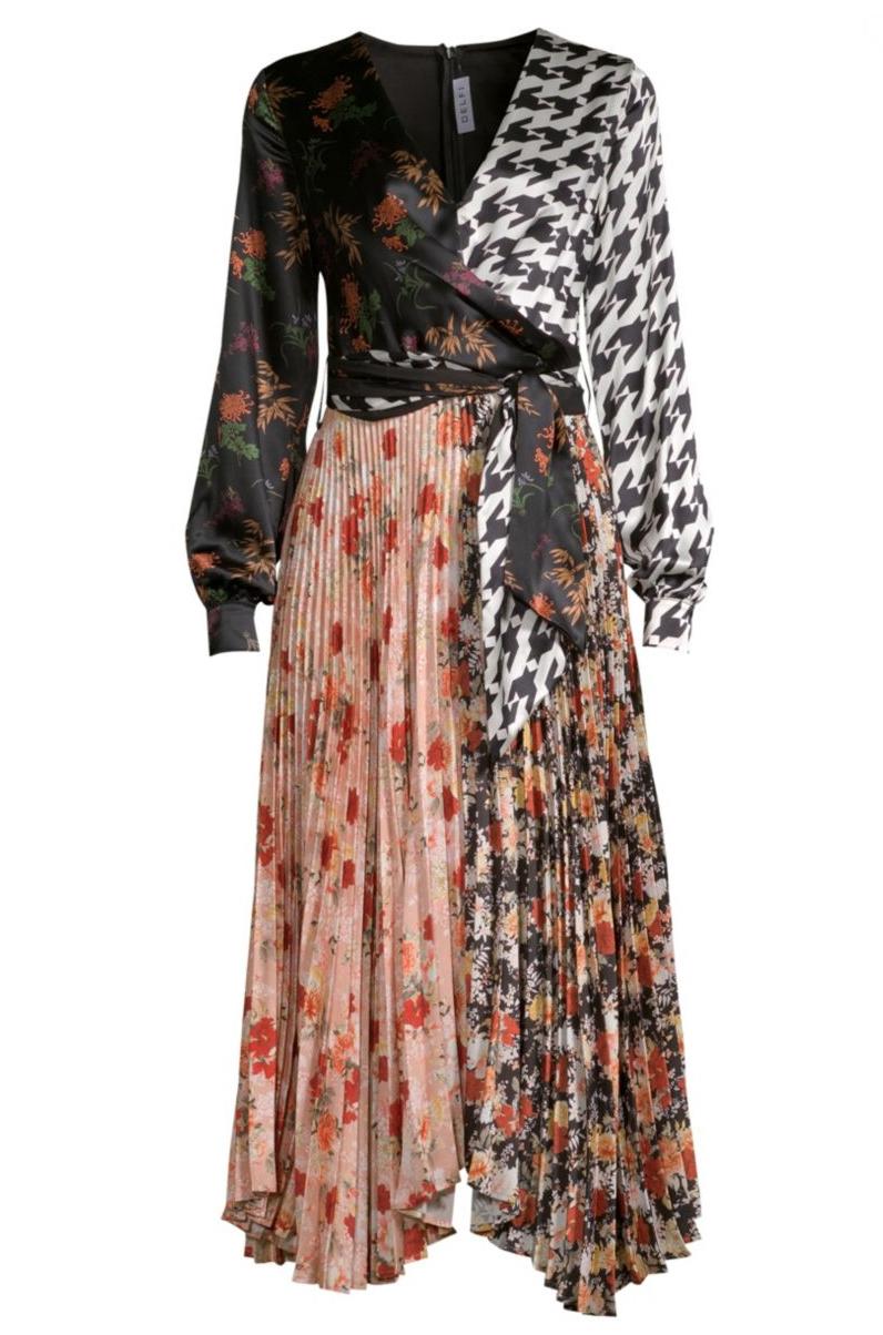 Delfi Collective - Camille Silk Multi Print Wrap Dress